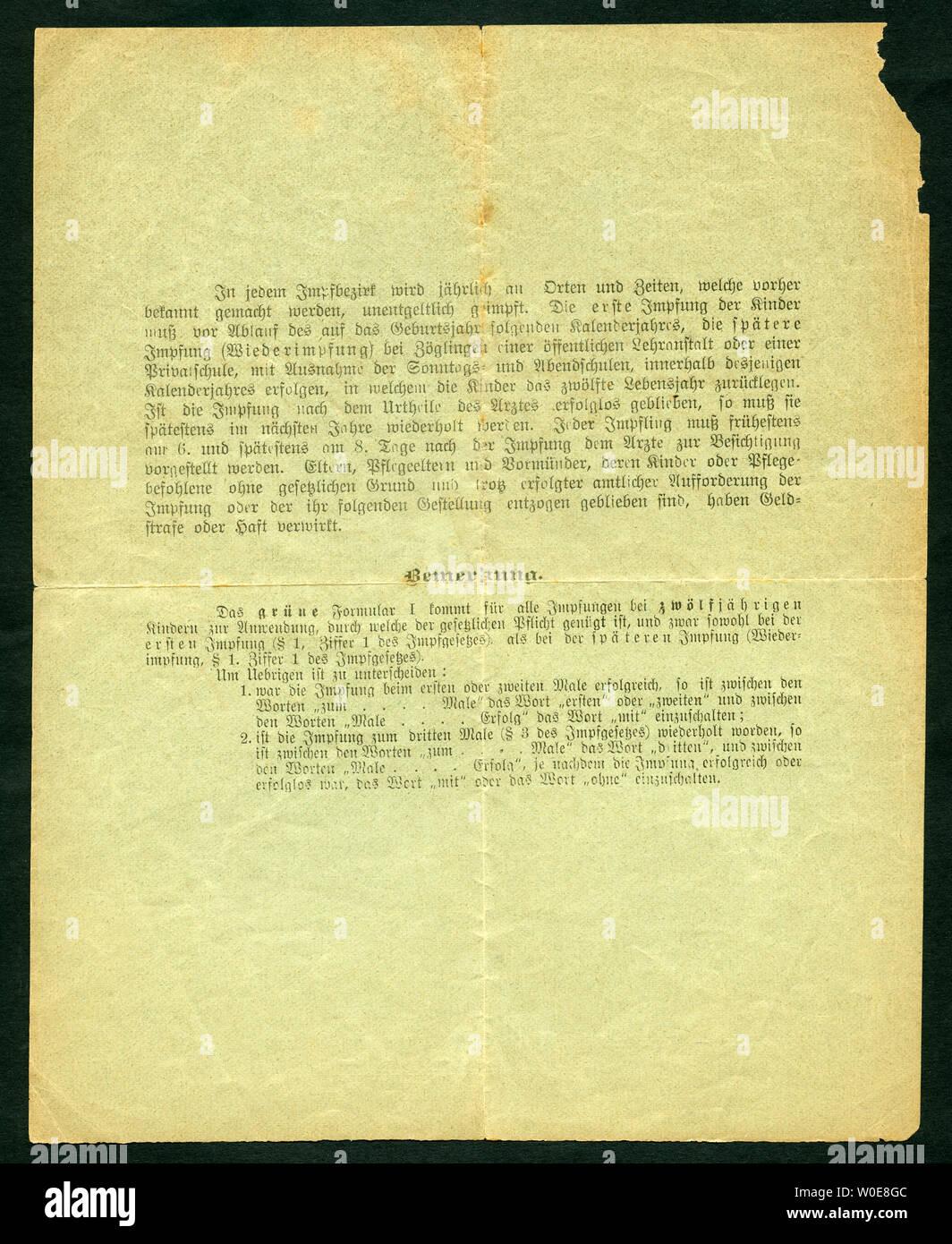 Europa, Deutschland, Hamburg, Wandsbek,  grüner Impfschein ( Wiederimpfung ), Rückseite,  ausgestellt am 18. 10. 1903, siehe auch Nr. 1006005 . /  Eur Stock Photo