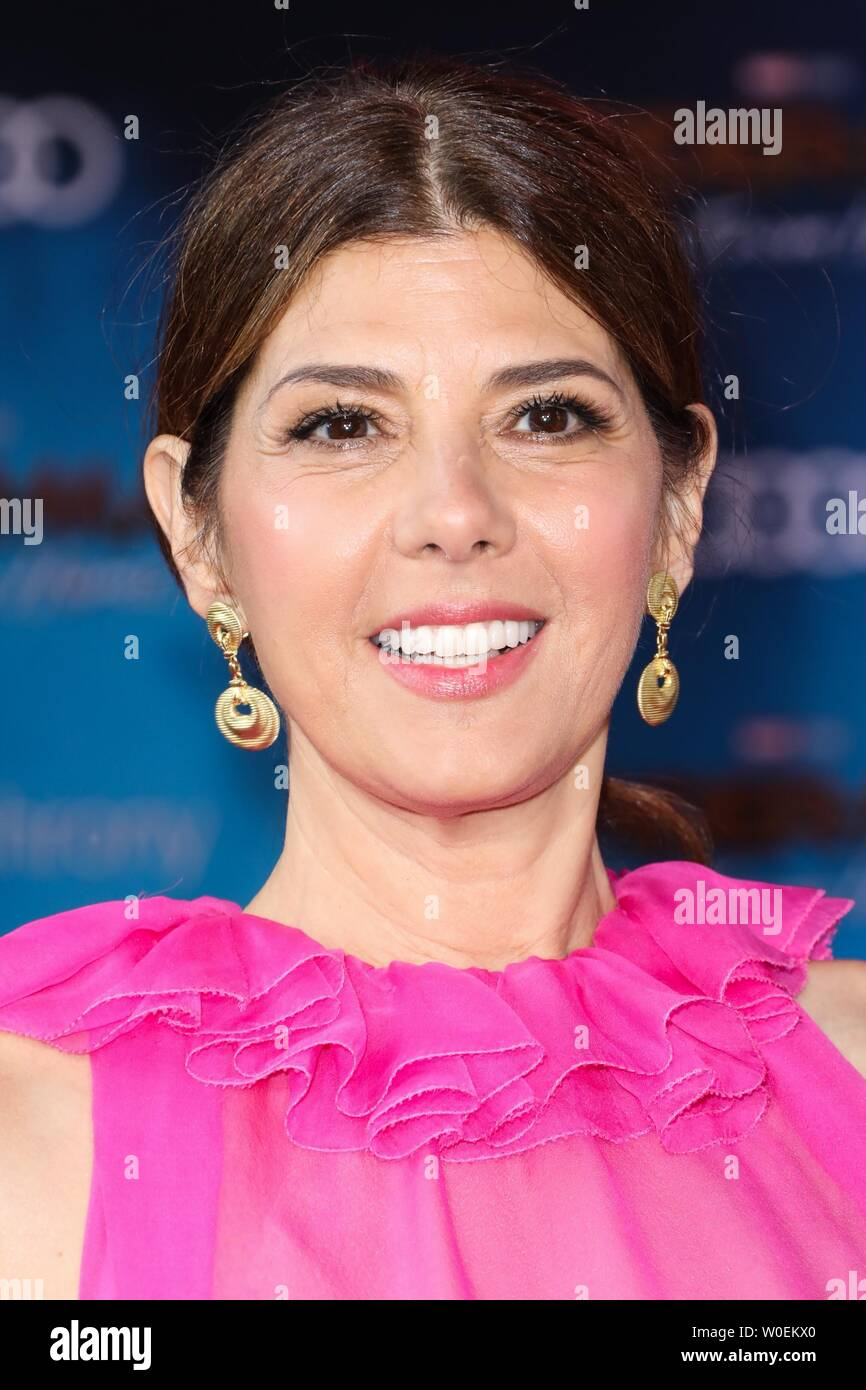Hollywood, United States. 26th June, 2019. HOLLYWOOD, LOS ANGELES, CALIFORNIA, USA - JUNE 26: Actress Marisa Tomei wearing Valentino arrives at the Premiere Of Sony Pictures' 'Spider-Man Far From Home' held at the TCL Chinese Theatre IMAX on June 26, 2019 in Hollywood, Los Angeles, California, United States. (Photo by David Acosta/Image Press Agency) Credit: Image Press Agency/Alamy Live News - Stock Image