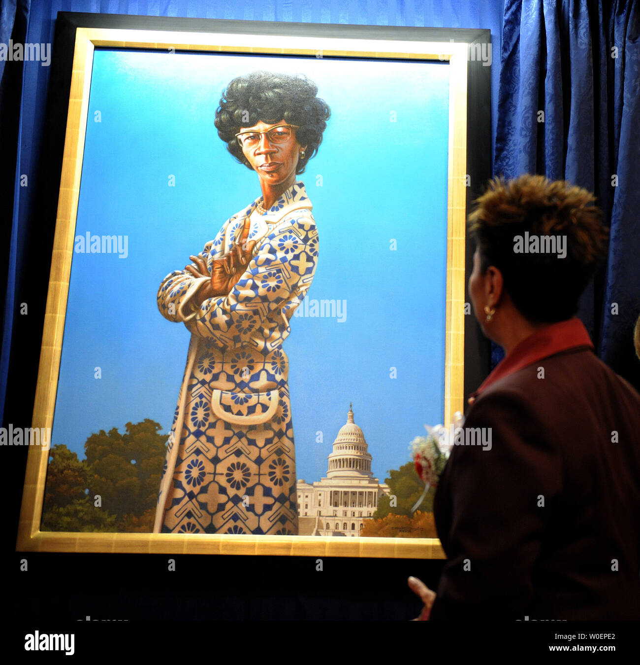 Rep Barbara Lee D Ca Unveils A Portrait Of The First Black Woman Member Of Congress Shirley Chisholm Of New York On Capitol Hill In Washington On March 3 2009 Rep Chisholm Served