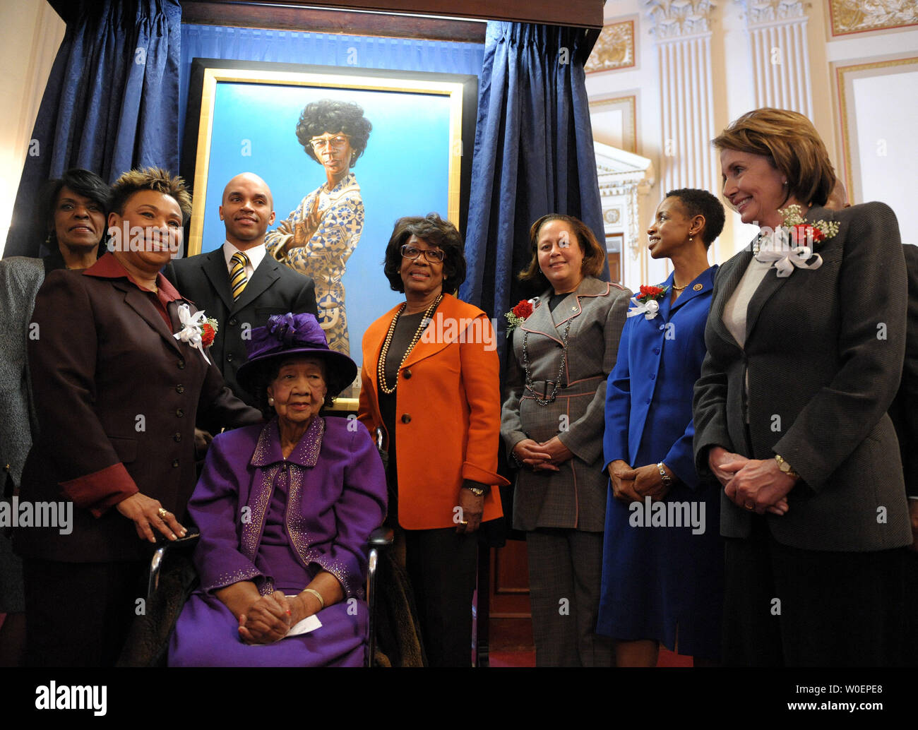 Rep Barbara Lee D Ca L Speaker Of The House Nancy Pelosi D Ca R Rep Maxine Waters D Ca Center And Dorothy Height Seated Joined By Other Dignitaries Participate In A Ceremony Unveiling A