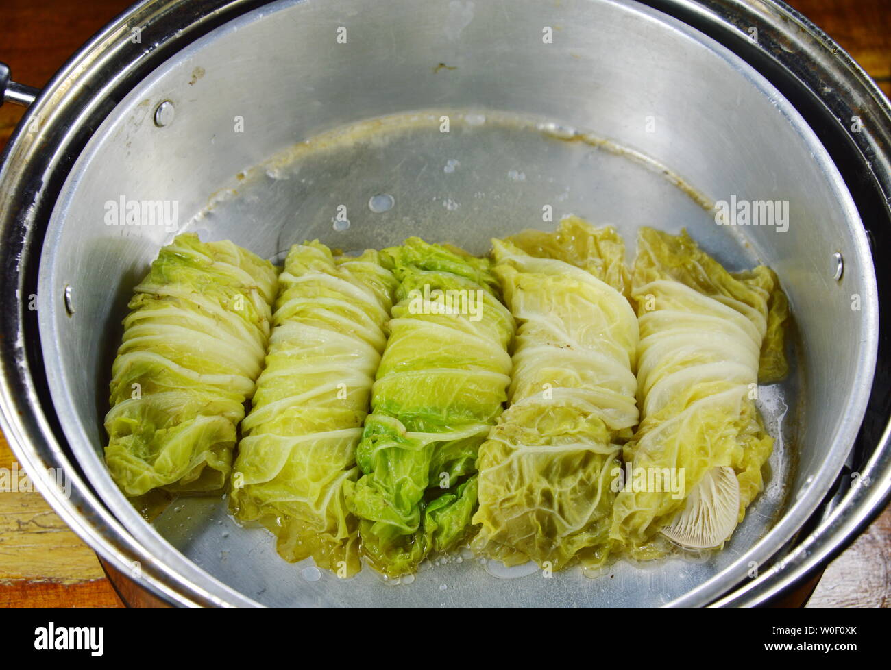 Steamed Chinese Cabbage Stuffed Minced Pork And Indian Mushroom On Pot Stock Photo Alamy