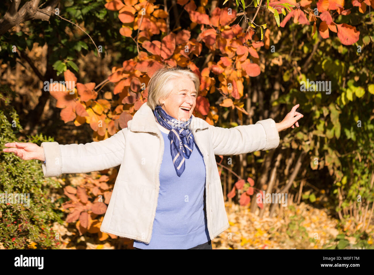 View of a pretty smiling grandma arms spread in nature in autumnal colors. - Stock Image