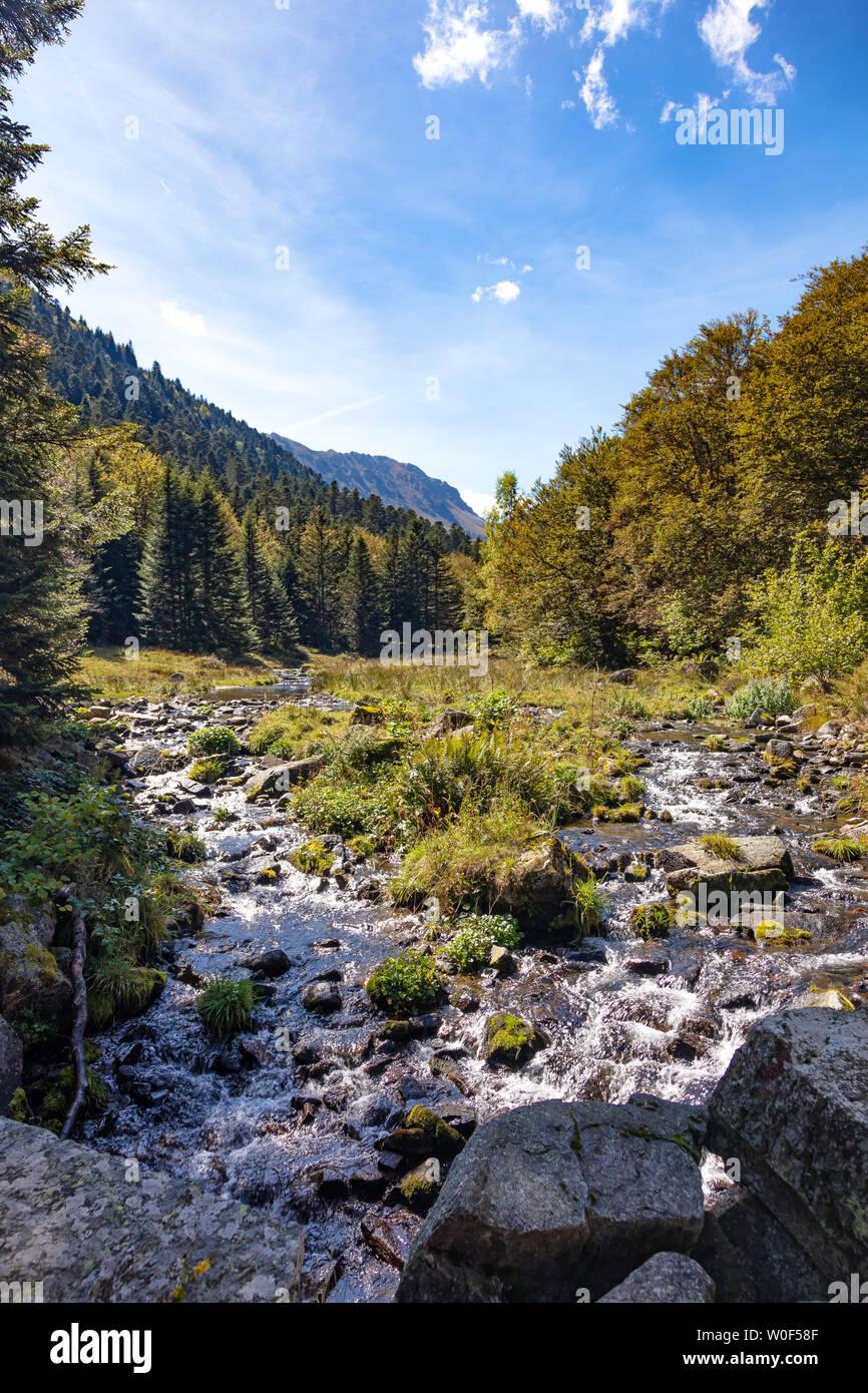 GR10, Hiking of tne Etang de Comte, Ariège Pyrenees, Occitanie, France Stock Photo