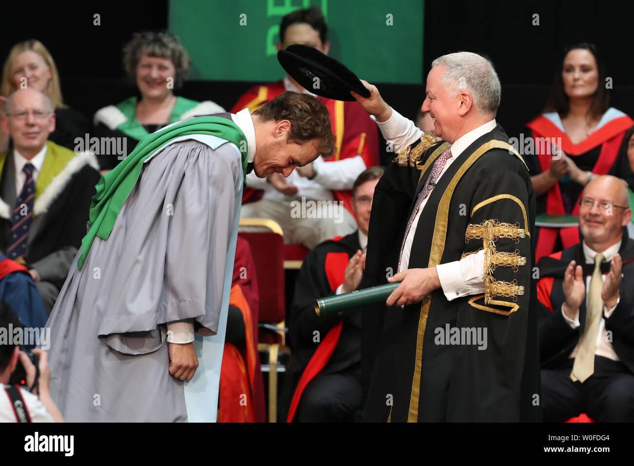 Outlander actor Sam Heughan receiving his honorary doctorate