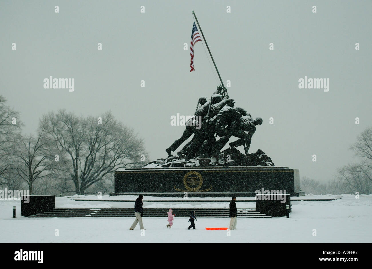 The Iwo Jima memorial is seen during a snow storm in