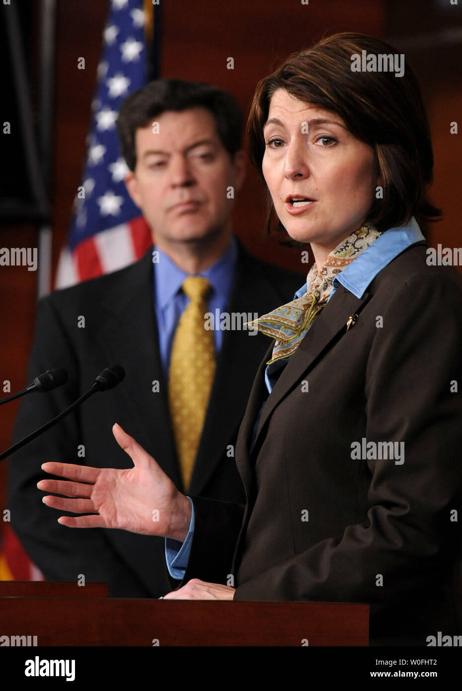 Rep. Cathy McMorris Rodgers (R-WA) (R) speaks alongside Sen. Sam Brownback (R-KS) on the health care reform bill and the possibility that the bill could provide public funding for abortions, in Washington on March 18, 2010.  UPI/Kevin Dietsch Stock Photo