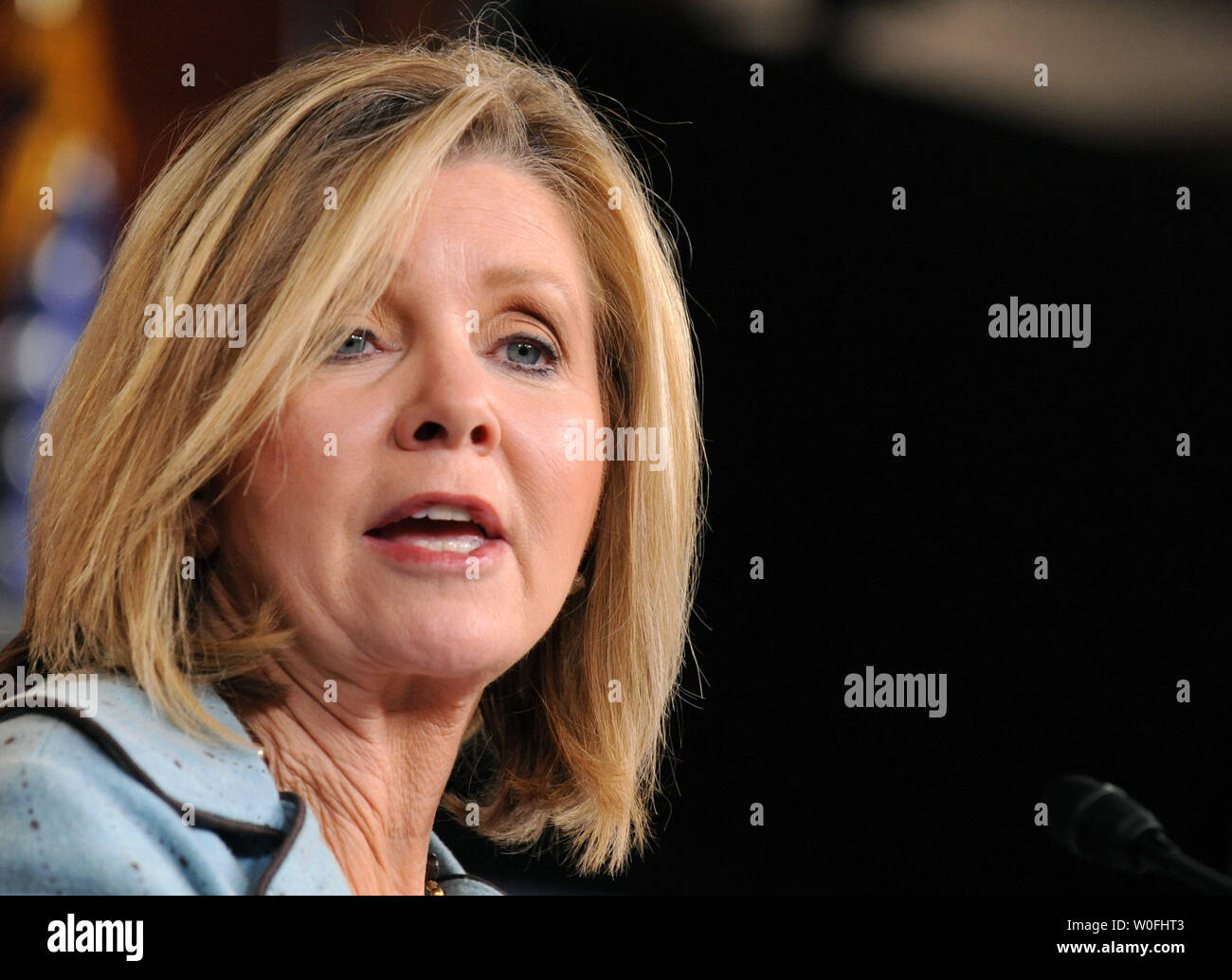 Rep. Marsha blackburn (R-TN) speaks on the health care reform bill and the possibility that the bill could provide public funding for abortions, in Washington on March 18, 2010. UPI/Kevin Dietsch Stock Photo