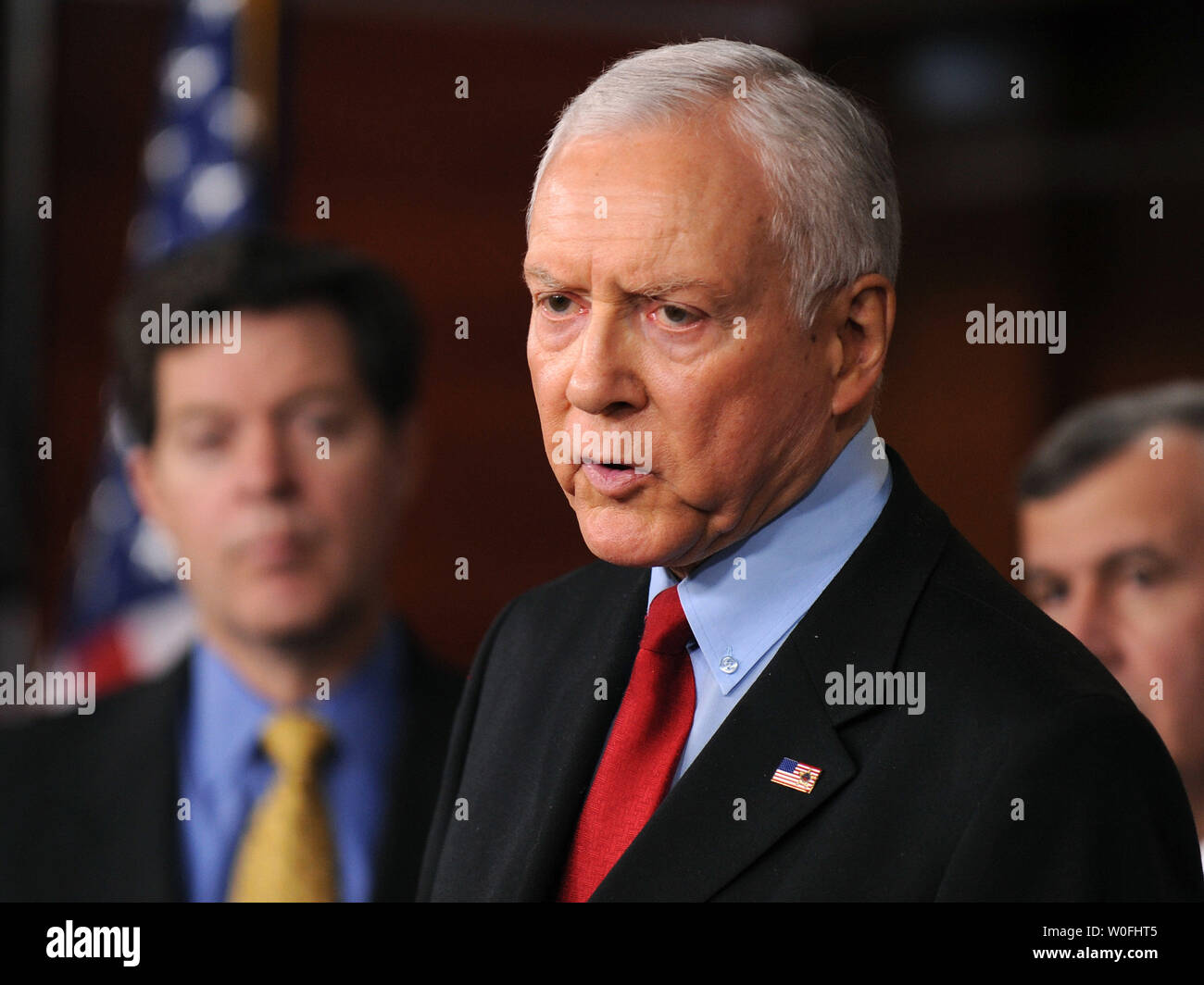Sen. Orrin Hatch (R-UT) speaks on the health care reform bill and the possibility that the bill could provide public funding for abortions, in Washington on March 18, 2010. Hatch was joined by Sen. Sam Brownback (R-KS). UPI/Kevin Dietsch Stock Photo