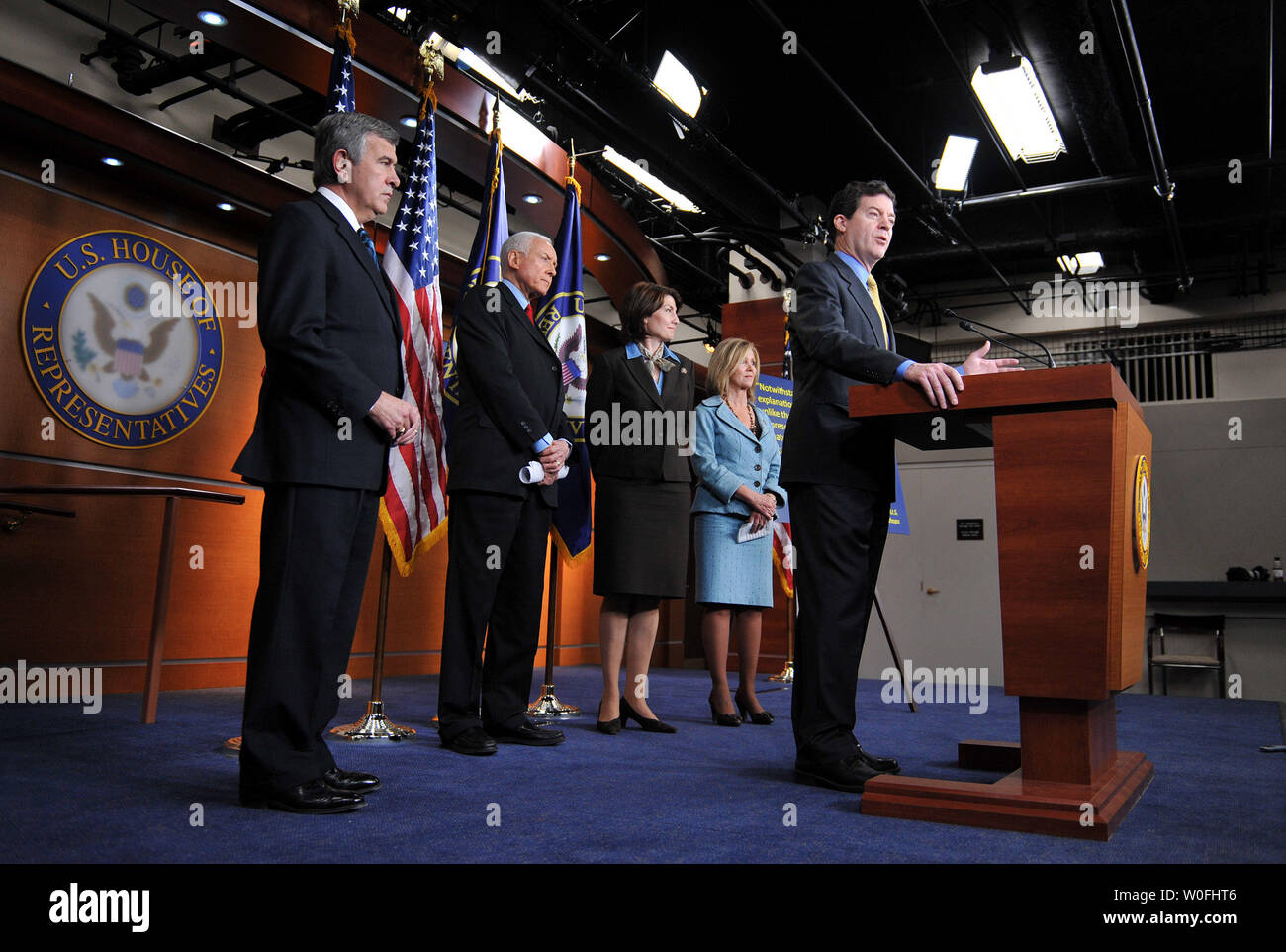 Sen. Sam Brownback (R-KS) speaks on the health care reform bill and the possibility that the bill could provide public funding for abortions, in Washington on March 18, 2010. Brownback was joined by GOP constituents. UPI/Kevin Dietsch Stock Photo