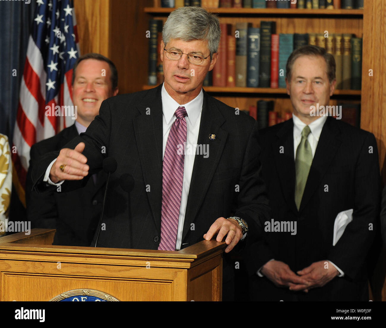Rep. Bart Stupak (D-MI) speaks on an executive order that prohibits government funding for abortions during a press conference on Capitol Hill in Washington on March 21, 2010. Stupak said with this agreement the House now has enough votes to pass the heath care reform bill   UPI/Kevin Dietsch Stock Photo
