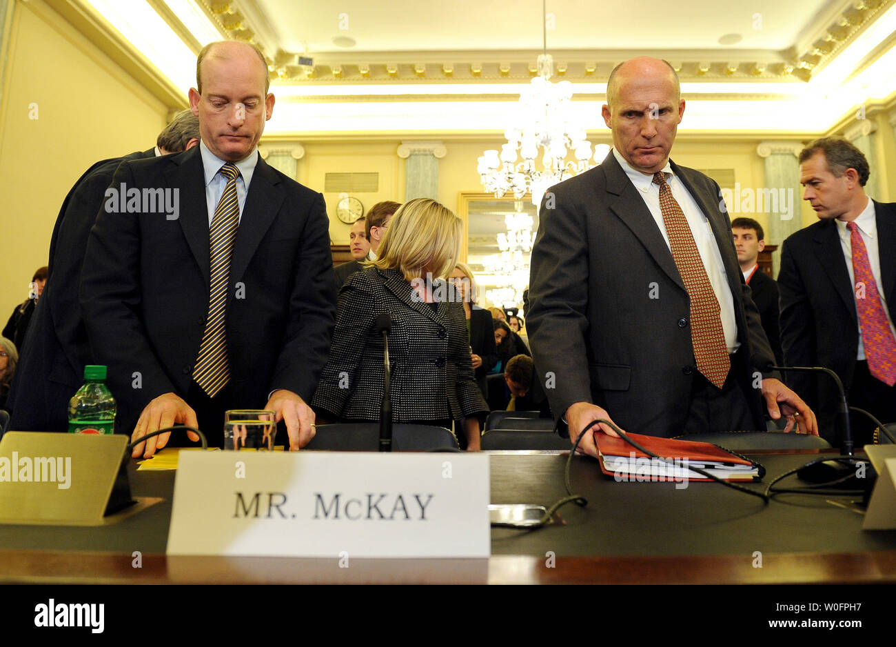 Lamar McKay, chairman and president of BP America Inc., and Steven Newman, president and CEO of Transocean Ltd., (L to  R) arrive to testify during a Senate Commerce, Science and Transportation Committee hearing on response efforts to the Gulf Coast oil spill on Capitol Hill in Washington on May 18, 2010.   UPI/Roger L. Wollenberg - Stock Image