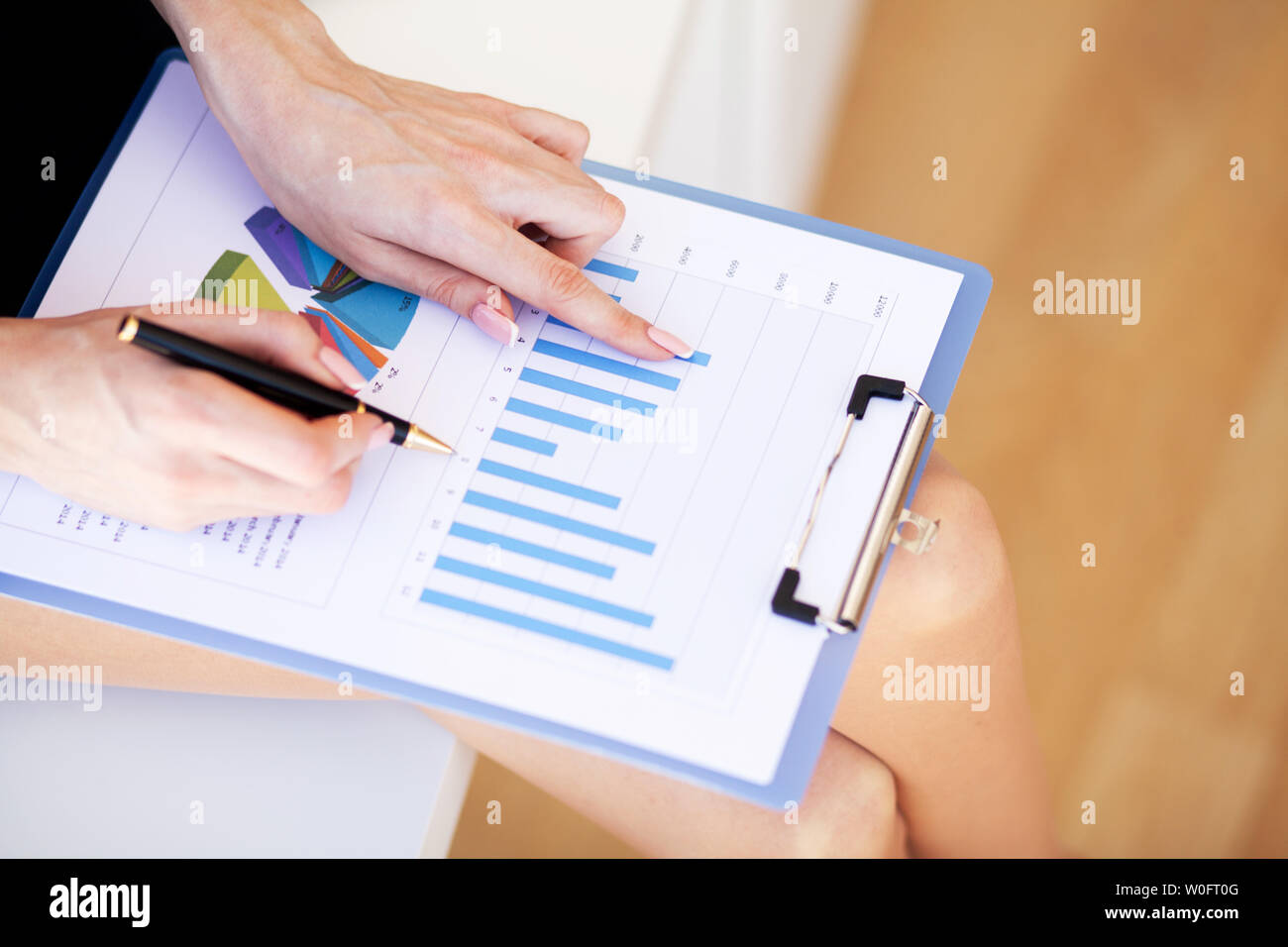 Financial Manager Sitting in Desk and Work With Financial Documents Company - Stock Image