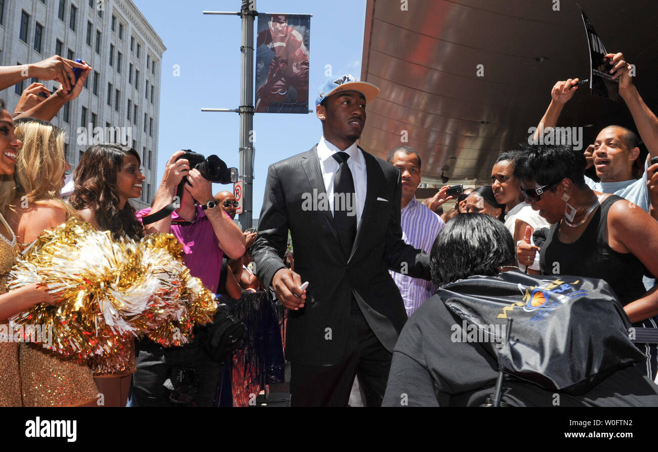 John Wall, the NBA #1 draft pick by the Washington Wizards, arrives on a red carpet lined with fans outside the Verizon Center in Washington on June 25, 2010. UPI/Alexis C. Glenn Stock Photo