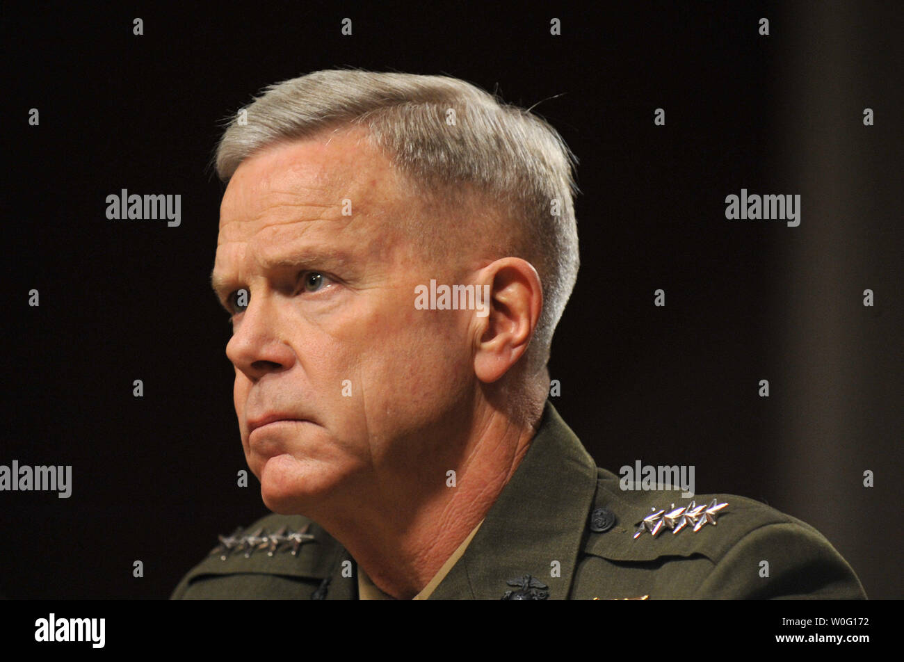 Gen. James Amos testifies before the Senate Armed Services Committee during his hearing reappointment hearing to be commandant of the Marine Corps. in Washington on September 21, 2010.   UPI/Kevin Dietsch Stock Photo
