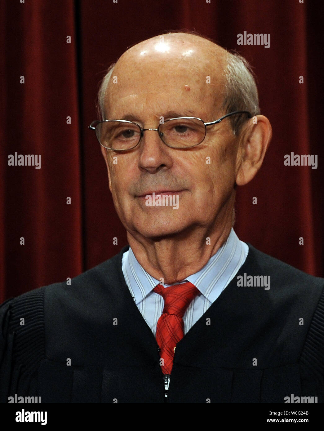 Associate Justice Stephen Breyer and the Supreme Court Justices of the United States sit for a formal group photo in the East Conference Room of the Supreme Court in Washington on October 8, 2010.    UPI/Roger L. Wollenberg - Stock Image