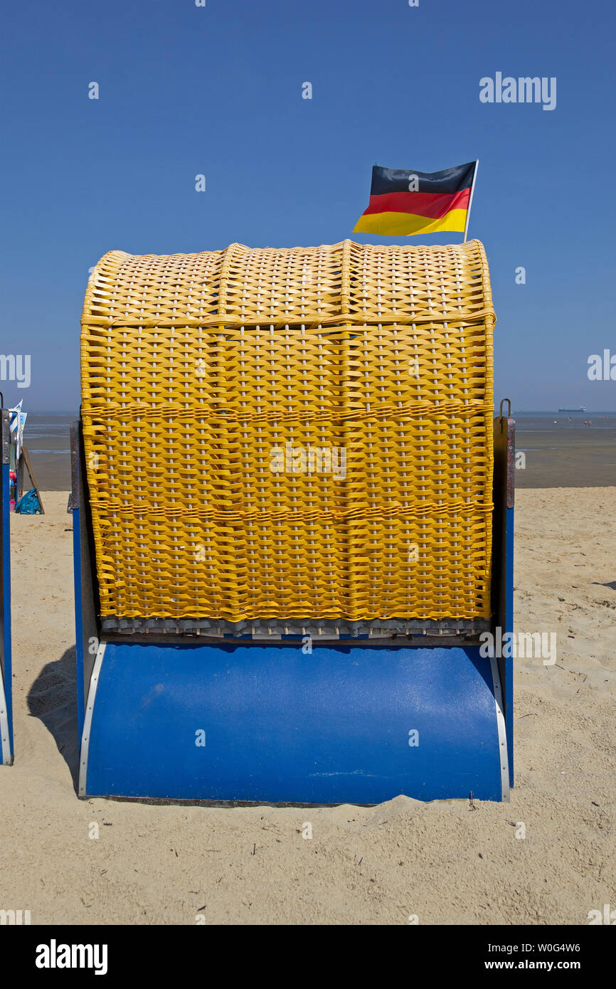 basket chair, Duhnen, Cuxhaven, Lower Saxony, Germany Stock Photo