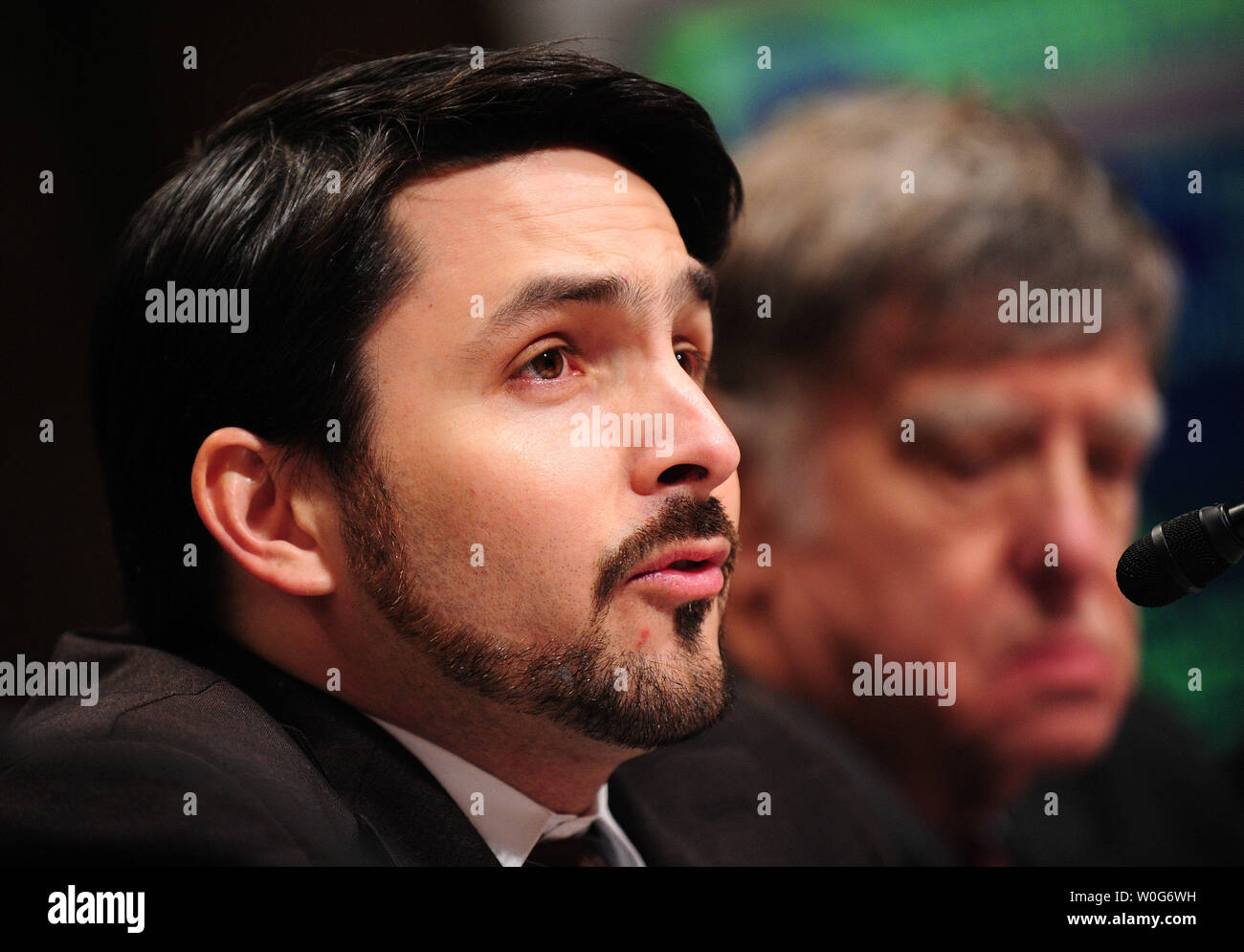 Till von Wachter, associate professor of economics at Columbia University, testifies during a Senate Budget Committee hearing on challenges for the U.S. economic recovery, in Washington on February 3, 2011. UPI/Kevin Dietsch - Stock Image