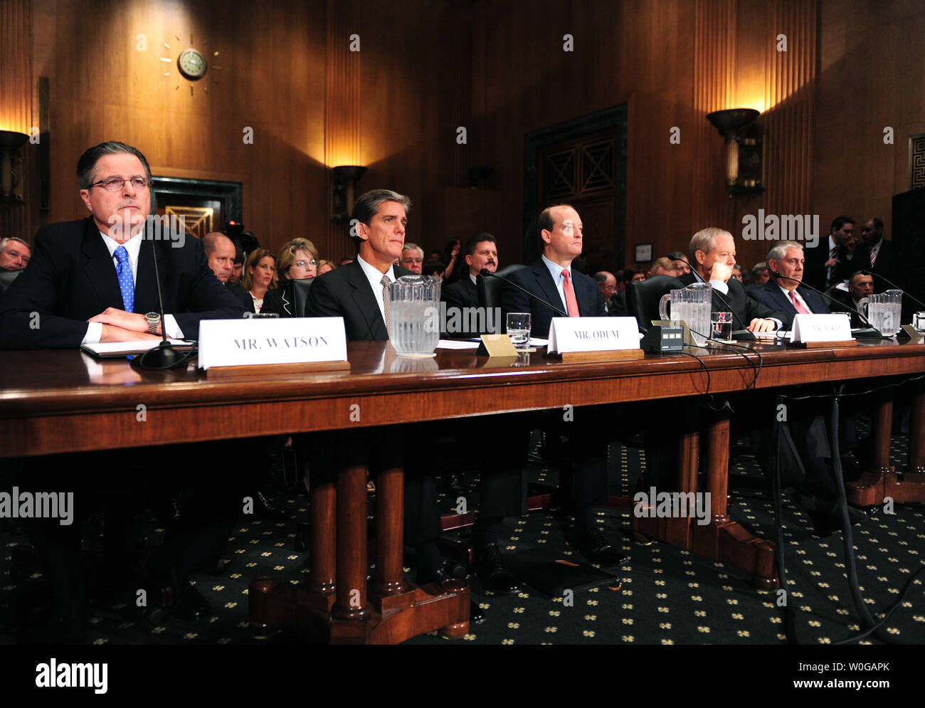 Chevron CEO and Chairman John Watson, Shell Oil U.S. President Marvin Odum, BP America Inc. President and Chairman H. Lamar McKay, ConocoPhillips CEO and Chairman James Mulva and Exxon Mobil CEO and Chairman Rex Tillerson testify during a Senate Finance Committee hearing on rising energy prices and oil and gas tax incentives in Washington on May 12, 2011.  UPI/Kevin Dietsch - Stock Image