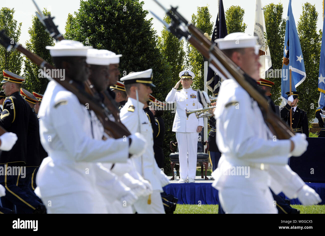 Chairman of the Joint Chiefs of Staff Adm. Michael Mullen participates in Secretary of Defense Robert Gates' Armed Forces Farewell Ceremony on the Pentagon River Parade Field in Arlington, Virginia, on June 30, 2011. Former CIA Director Leon E. Panetta will become the 23rd Secretary of Defense, replacing Gates on July 1.     UPI/Roger L. Wollenberg - Stock Image