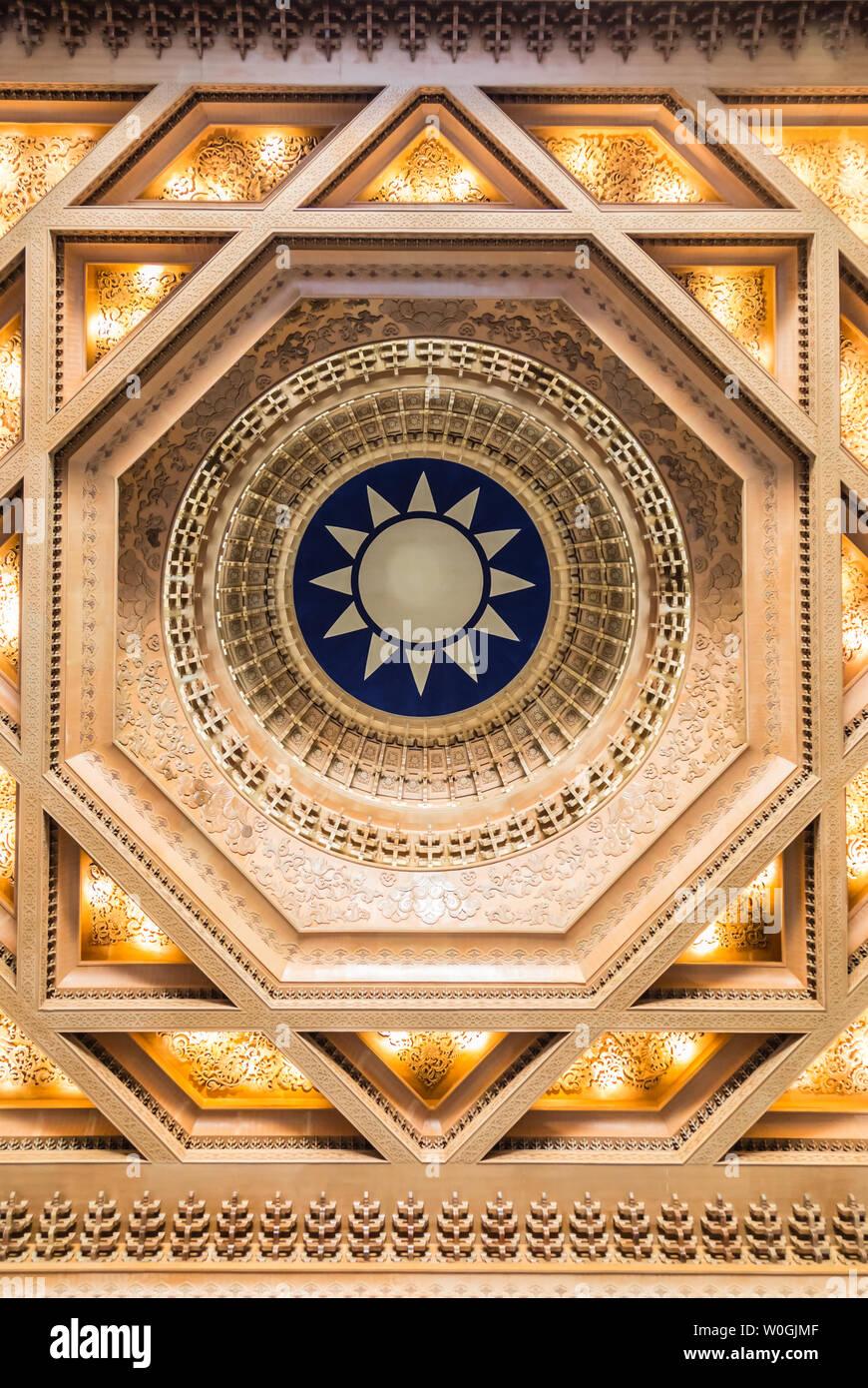Taipei,Taiwan-05 SEP 2017:the ceiling of Chiang Kai shek Memorial Hall - Stock Image