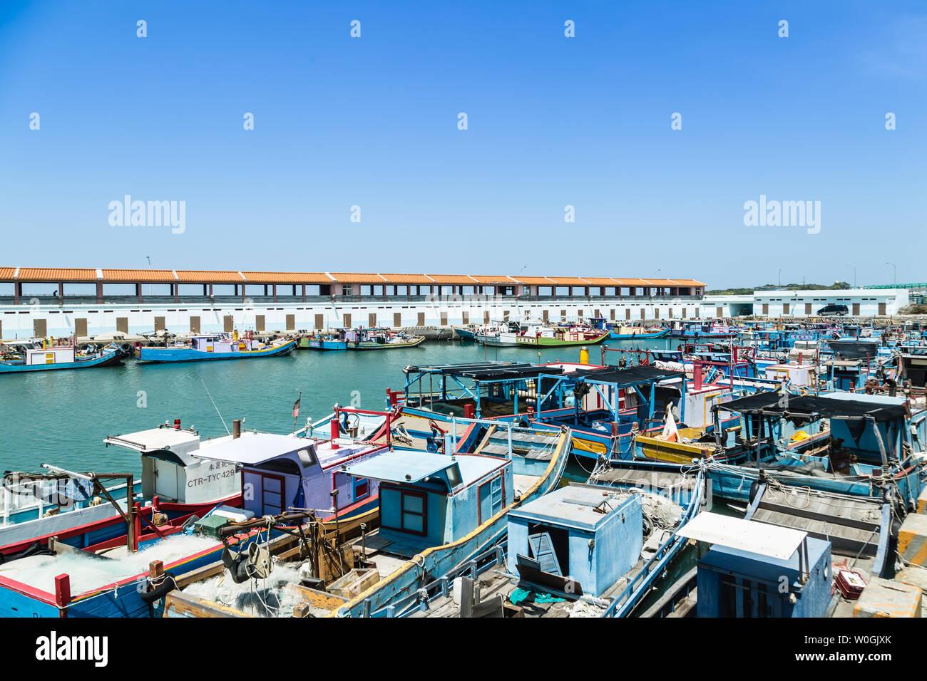 Taiwan,Taipei-05 SEP 2017: Taiwan Zhuwei Fish Harbor day time view - Stock Image