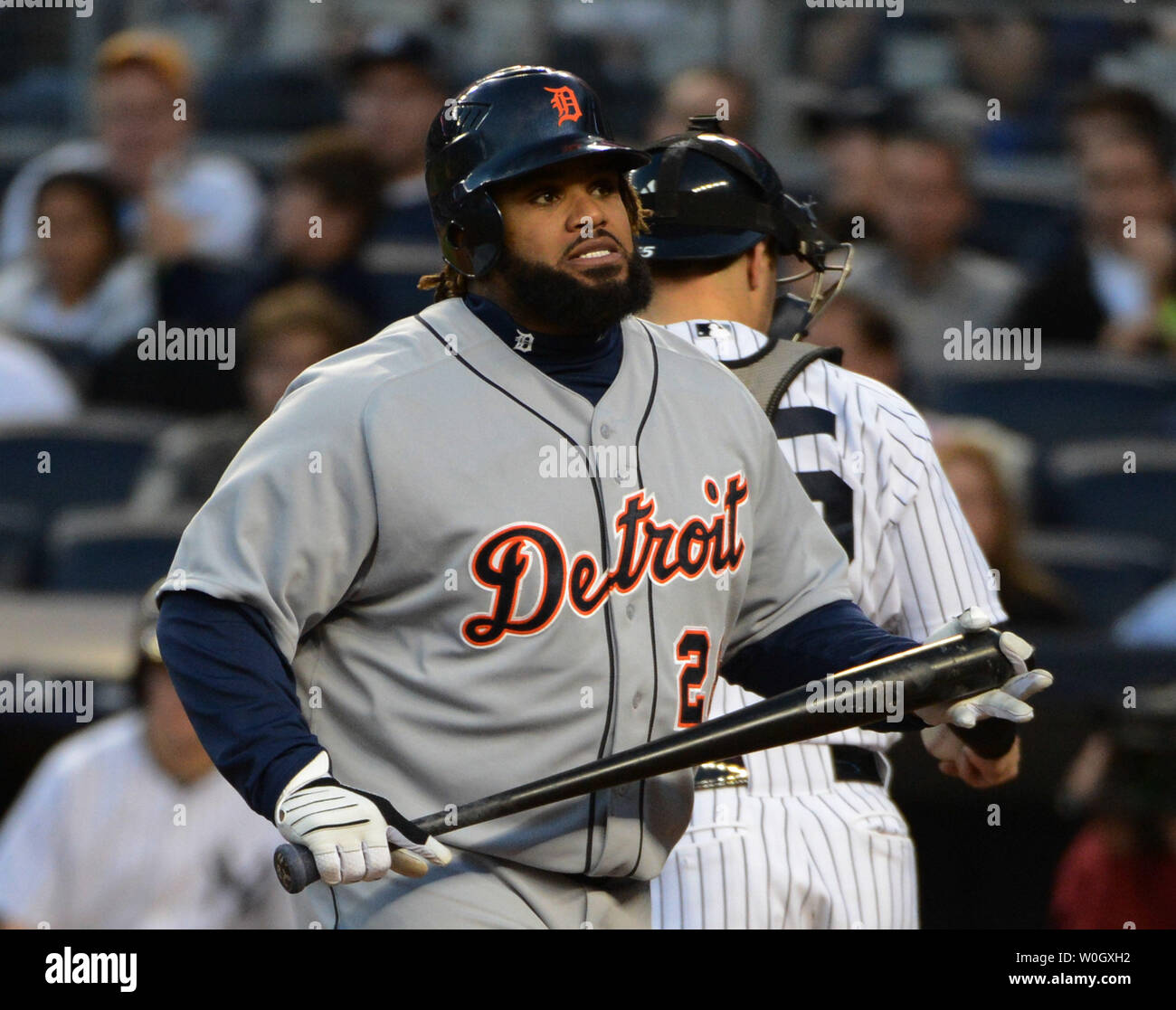 Detroit tigers Prince Fielder is upset after striking out