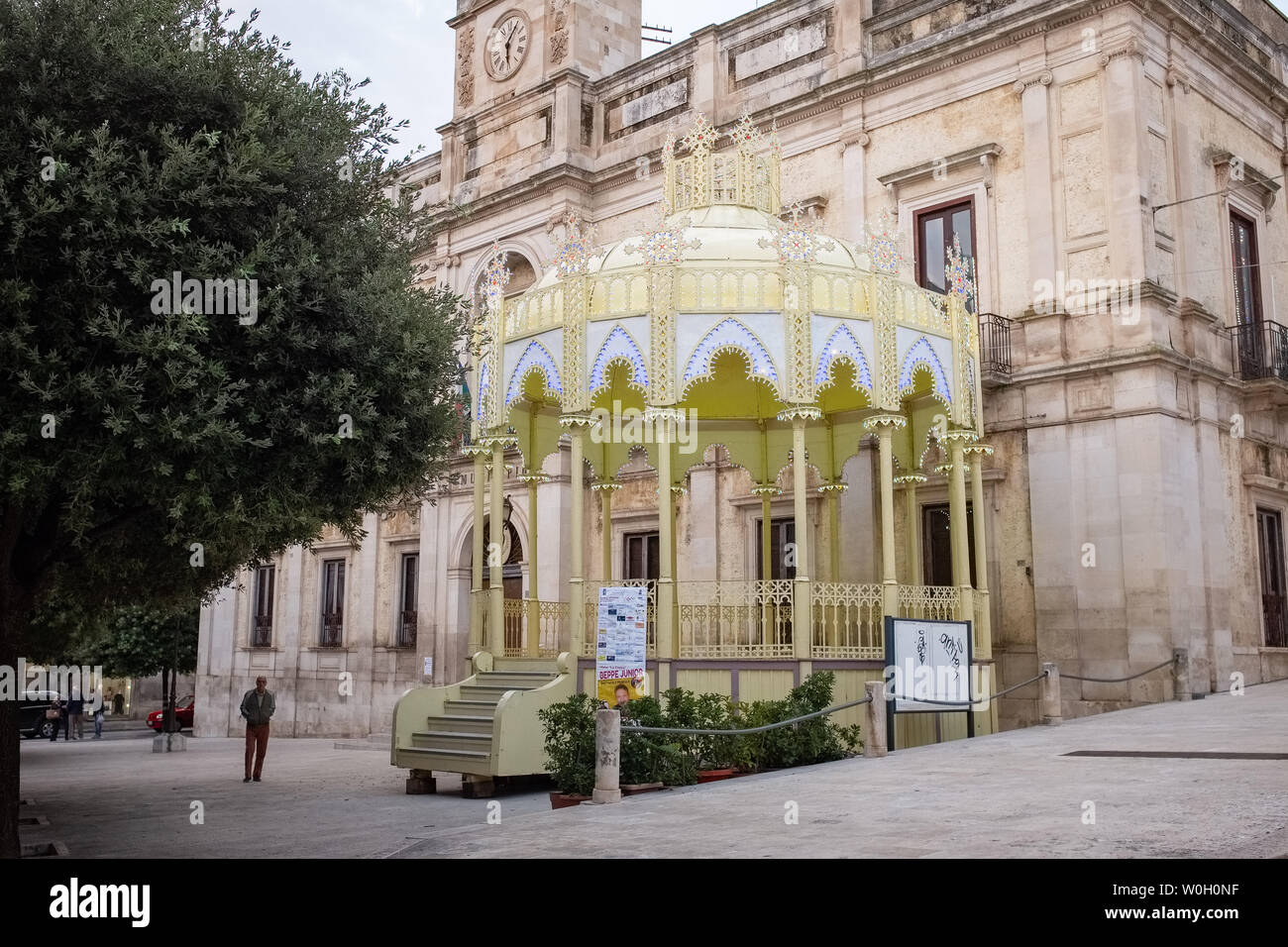GIOIA DEL COLLE, ITALY - OCTOBER 6, 2018: Traditional Apulian bandstand setup for Our Lady of the Rosary festival - Stock Image