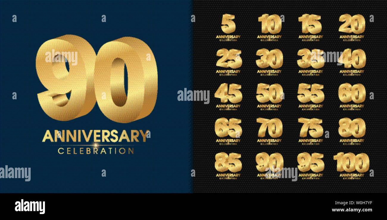 Set of premium anniversary logotype. Golden anniversary celebration emblem design for company profile, booklet, leaflet, magazine, brochure, web, bann - Stock Vector
