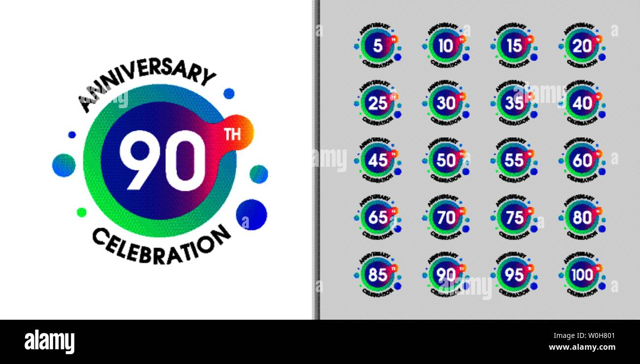 Set of modern anniversary logotype. Colorful anniversary celebration emblem design for company profile, booklet, leaflet, magazine, brochure, web, ban - Stock Vector