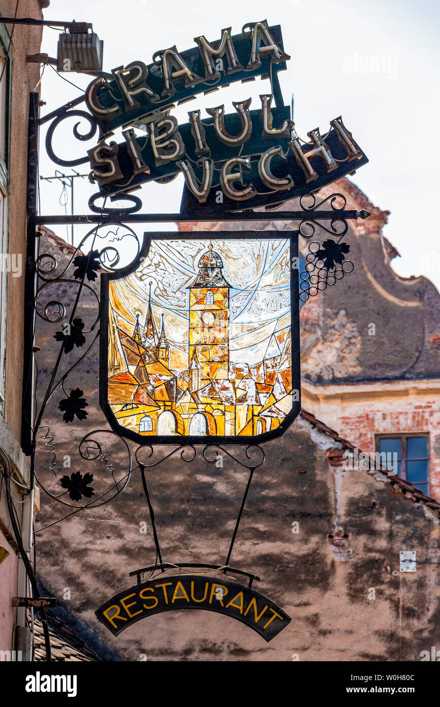 SIBIU, ROMANIA - AUGUST 28, 2017: Crama Sibiul Vechi Restaurant beautiful street sign Stock Photo