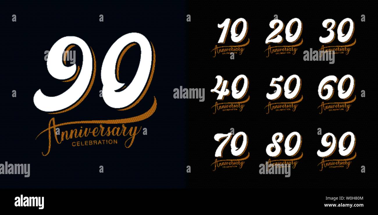 Set of anniversary logotype. Premium  anniversary celebration emblem design for company profile, booklet, leaflet, magazine, brochure, web, banner, in - Stock Vector