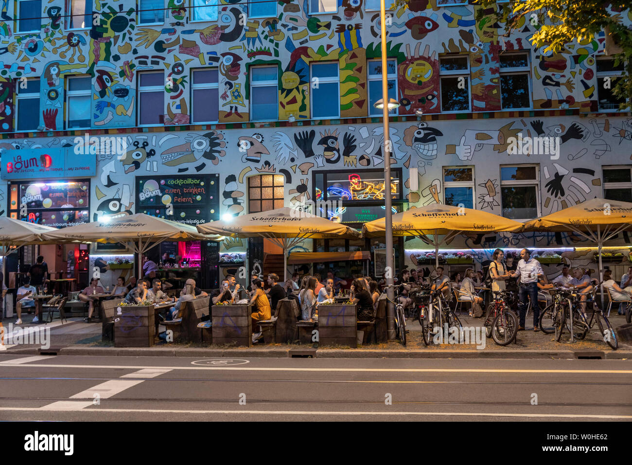 La Boum Cocktailbar, Fischer-Art-Haus,  Karl Liebknechstrasse, Leipzig - Stock Image