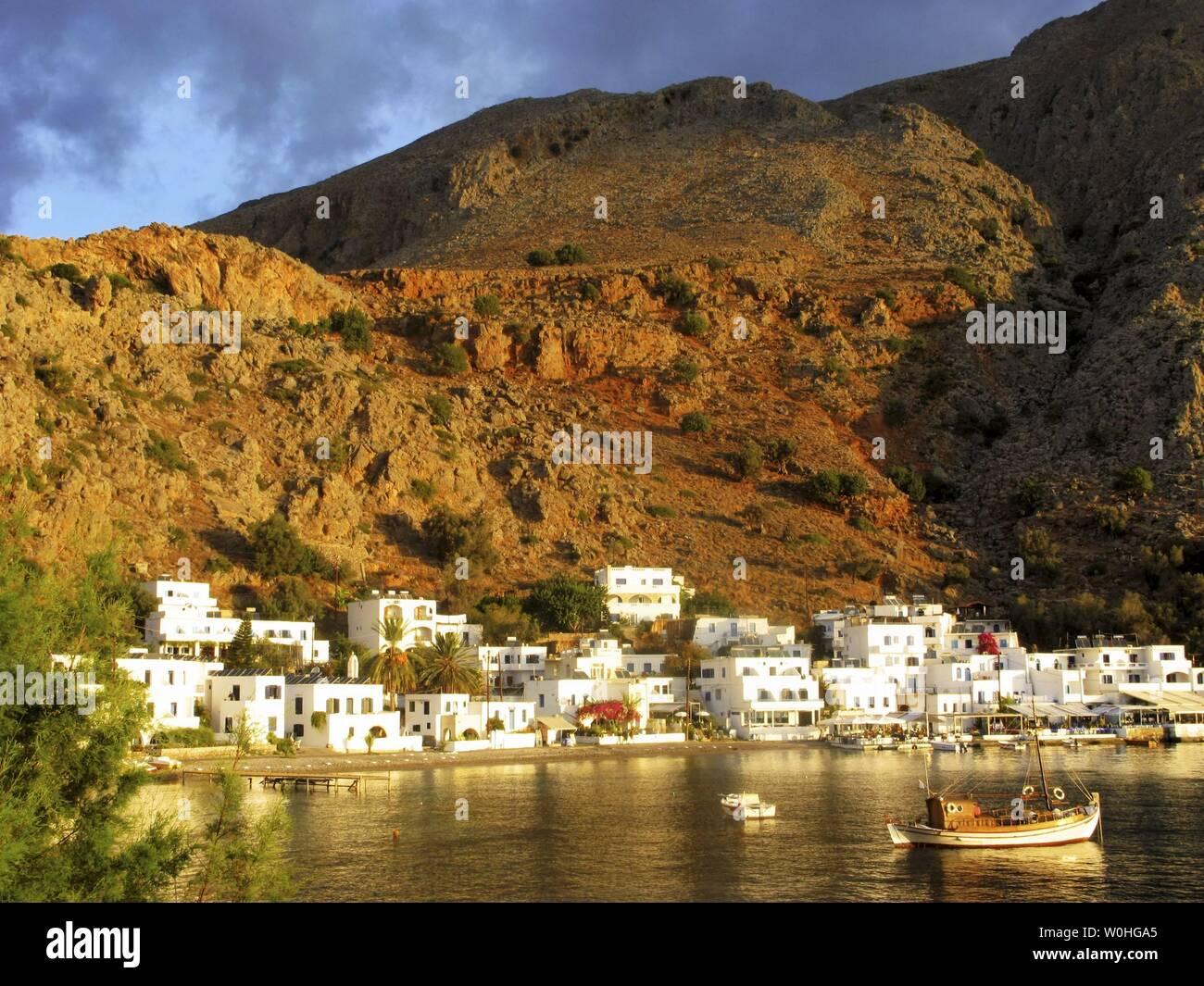 Early morning light, Loutro, South Crete, Greece Stock Photo