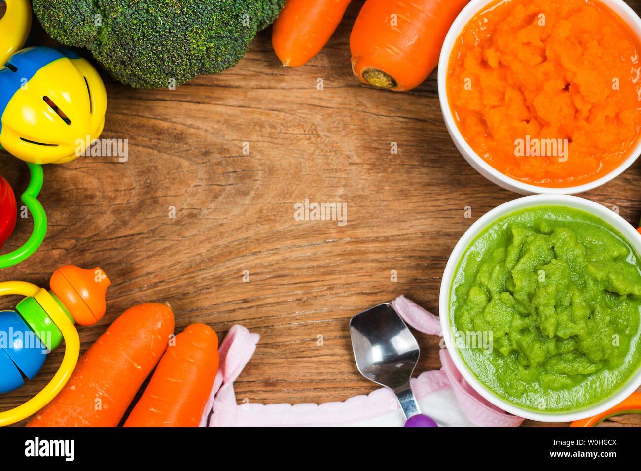 vegetable puree, carrots  pureed ,Broccoli pureed - Stock Image
