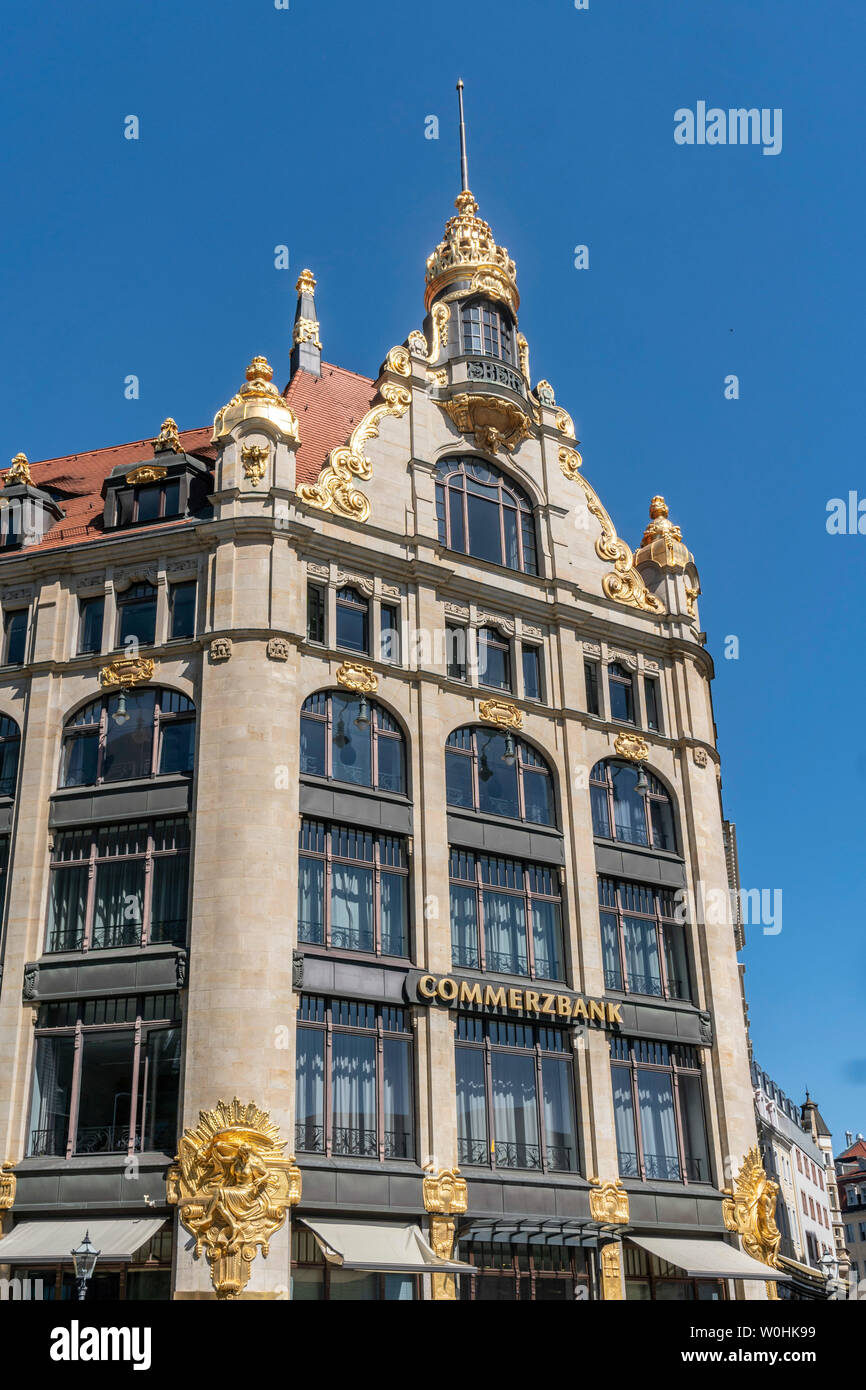 Commerzbank, former department store Topas, Marktgalerie mall, Leipzig, Saxony - Stock Image