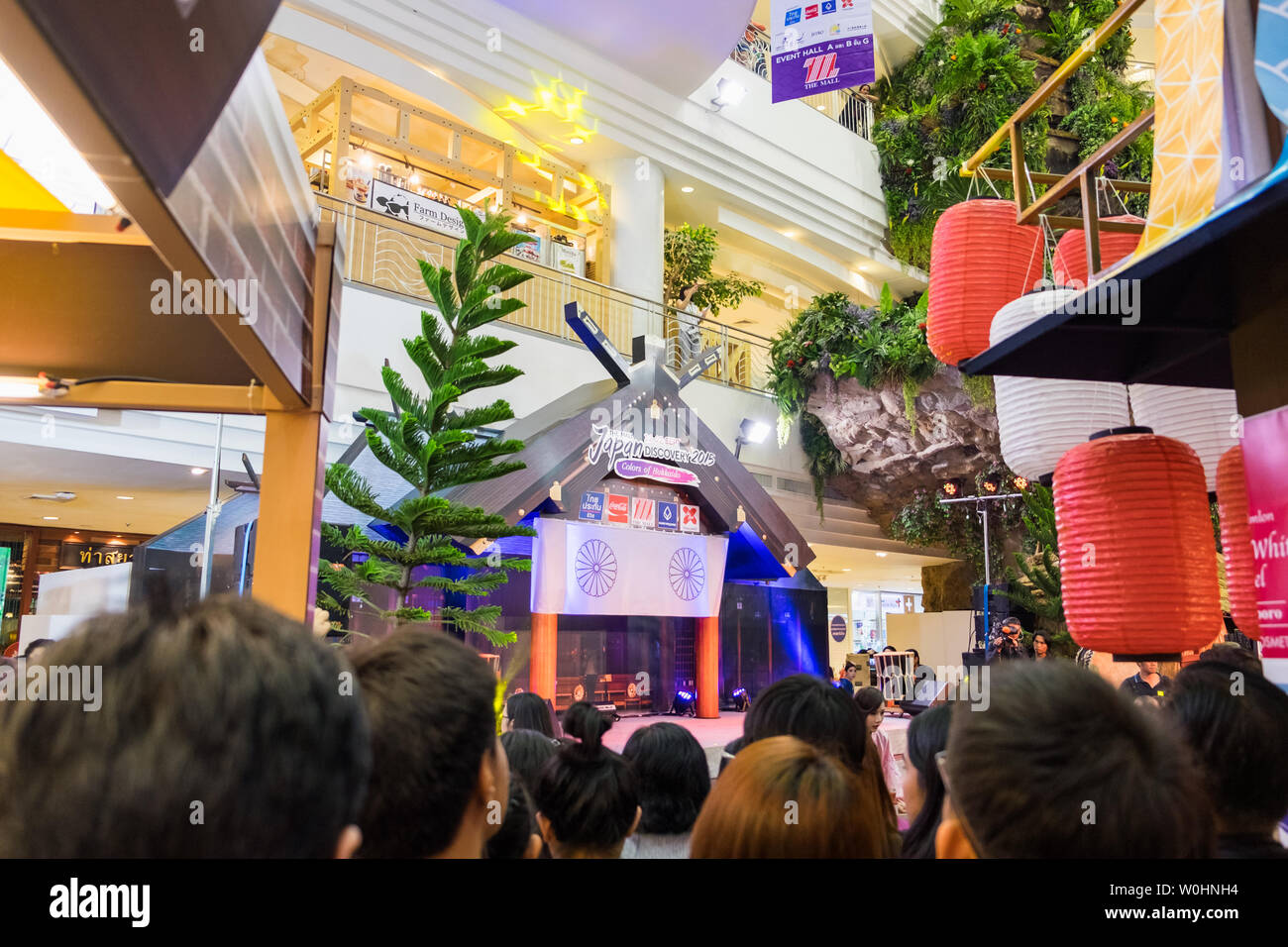 Bangkok,Thailand - Sep 12 2015 : Mass media and public are waiting to launch japanse bussiness style at the mall bangkapi - Stock Image