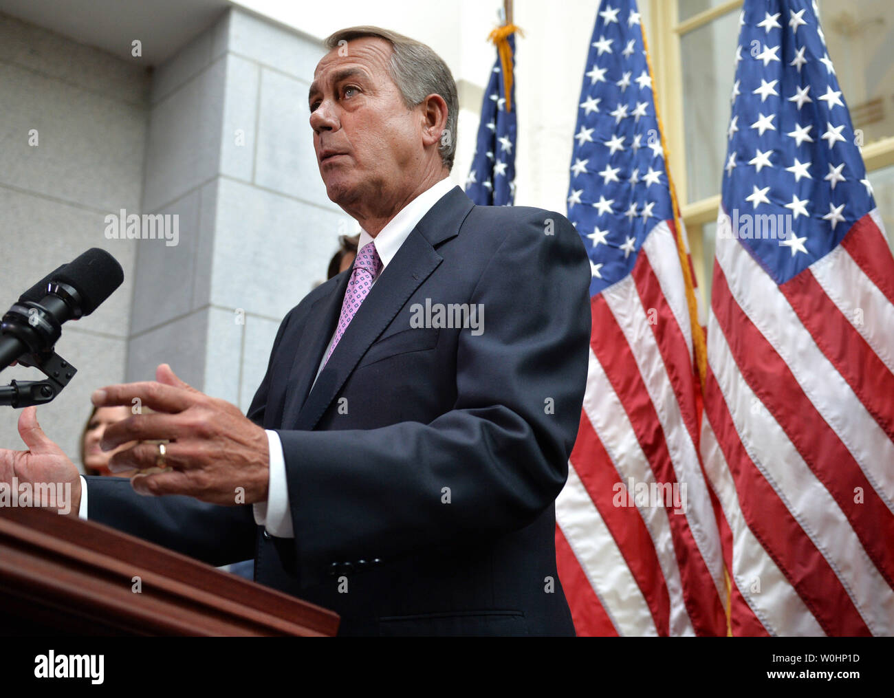Speaker of the House John Boehner, R-OH, speaks to the press following a House Republican meeting on Capitol Hill in Washington D.C. on February 25, 2015.  Photo by Kevin Dietsch - Stock Image