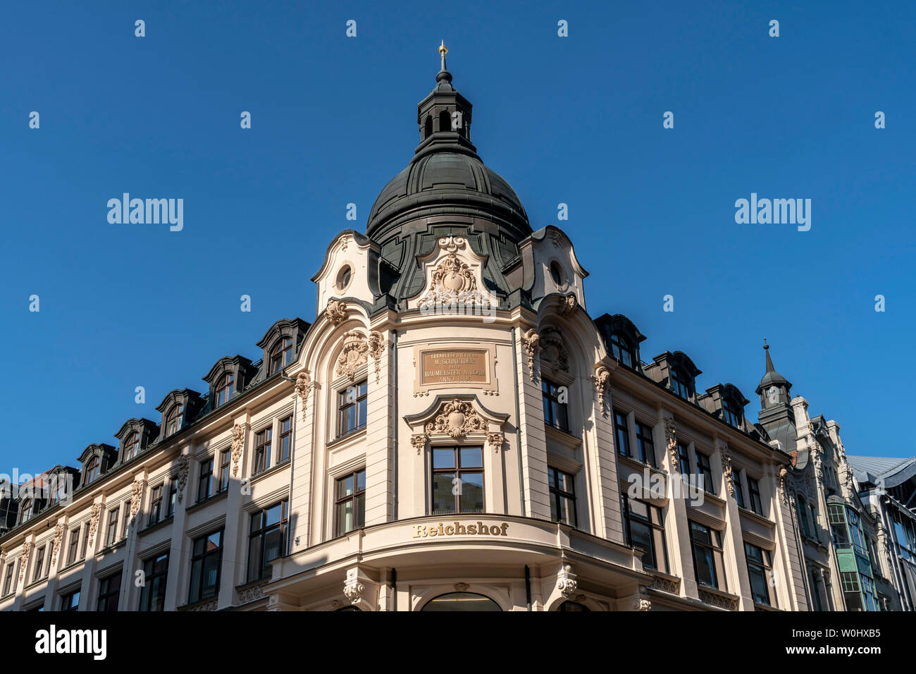 Reichshof building , former warehouse by architect Bohm, Leipzig, Saxonia - Stock Image