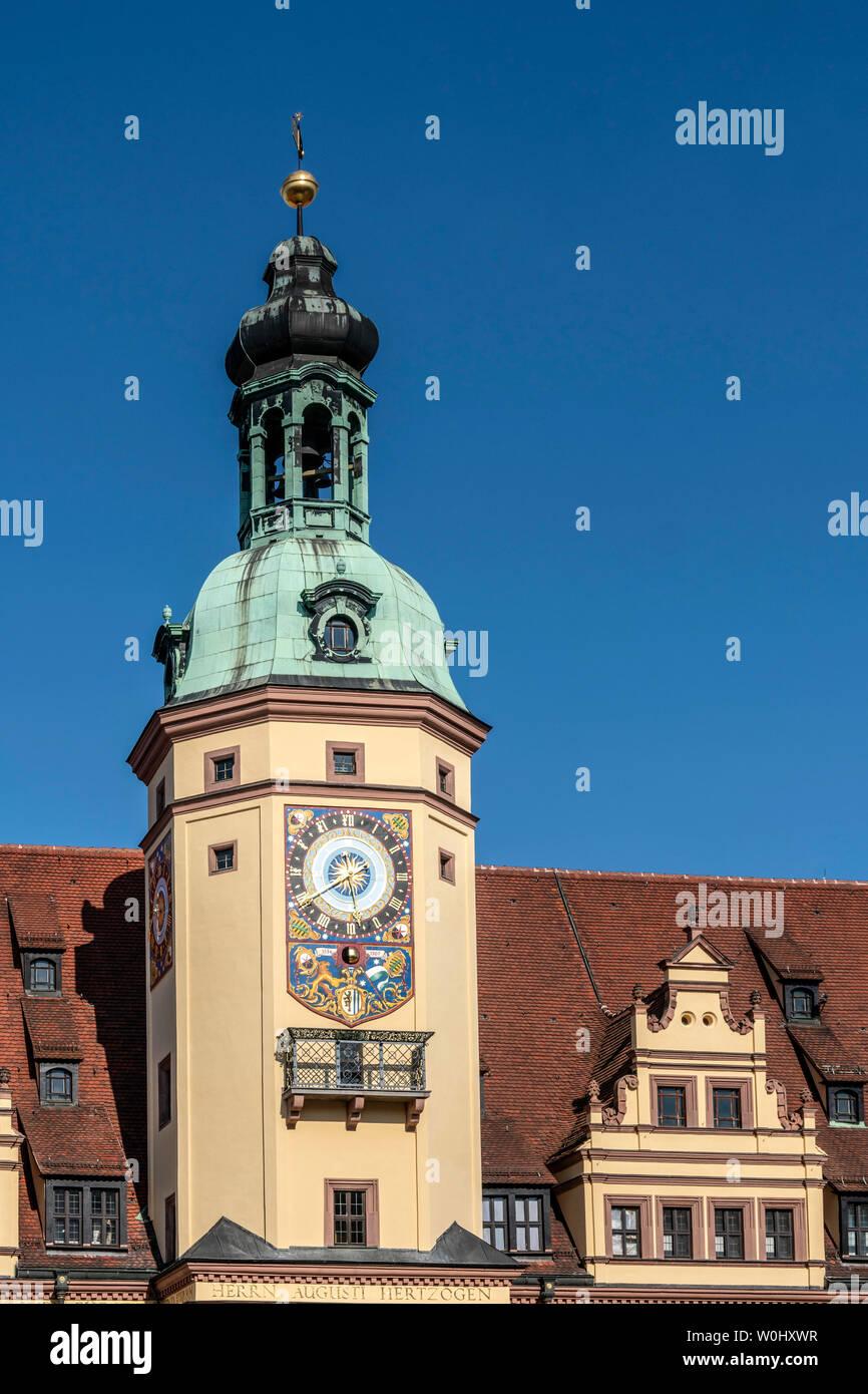 Clock tower old city hall, Marktplatz Leipzig, Saxonia | Altes Rathaus, Leipzig, Sachsen, - Stock Image