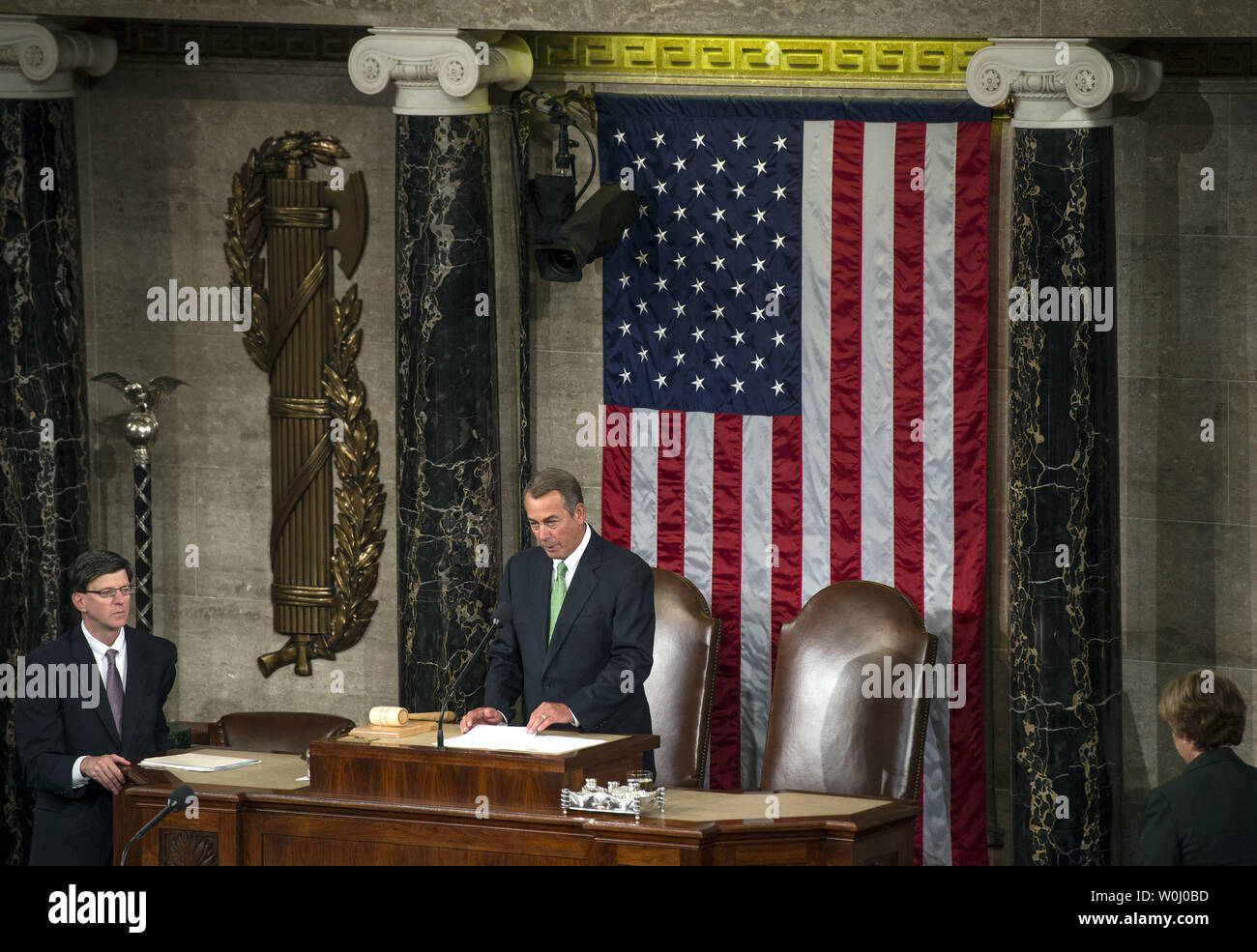 Speaker of the House John Boehner (R-OH) presides over the house floor prior to the Pope's visit, at the U.S. Capitol Building in Washington, D.C. on September 24, 2015. Boehner announced today, September 25, that he will step down as Speaker and resign from Congress at the end of October. Boehner said he decided this morning to announce his plans to resign from Congress. Photo by Kevin Dietsch/UPI - Stock Image