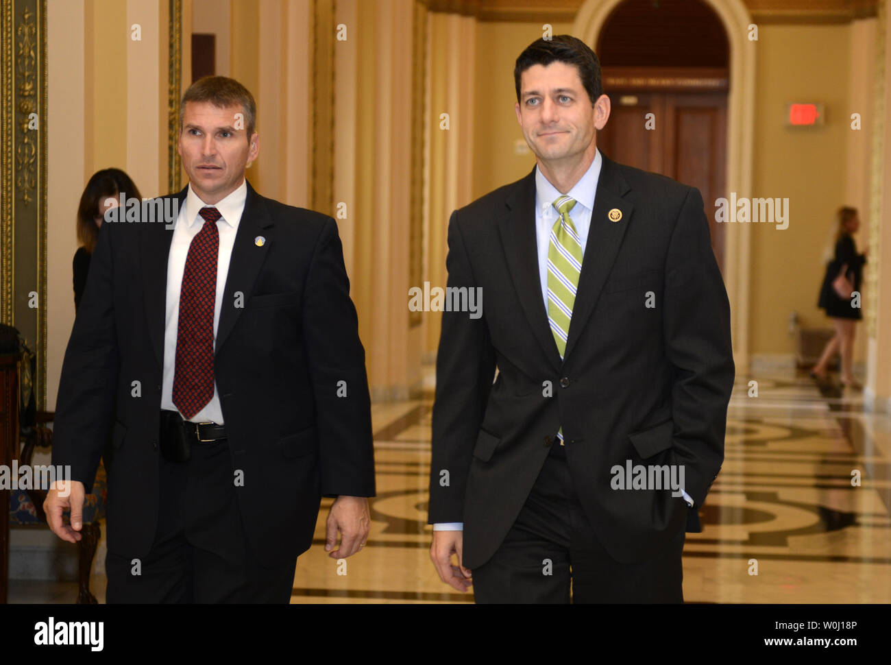 Rep. Paul Ryan (R-WI) departs the Ways and Means Committee office in the U.S. Capitol, October 27, 2015, in Washington, DC. Paul is expected to take the Speaker's gavel, succeeding Rep. John Boehner (R-OH), who is stepping down.      Photo by Mike Theiler/UPI - Stock Image