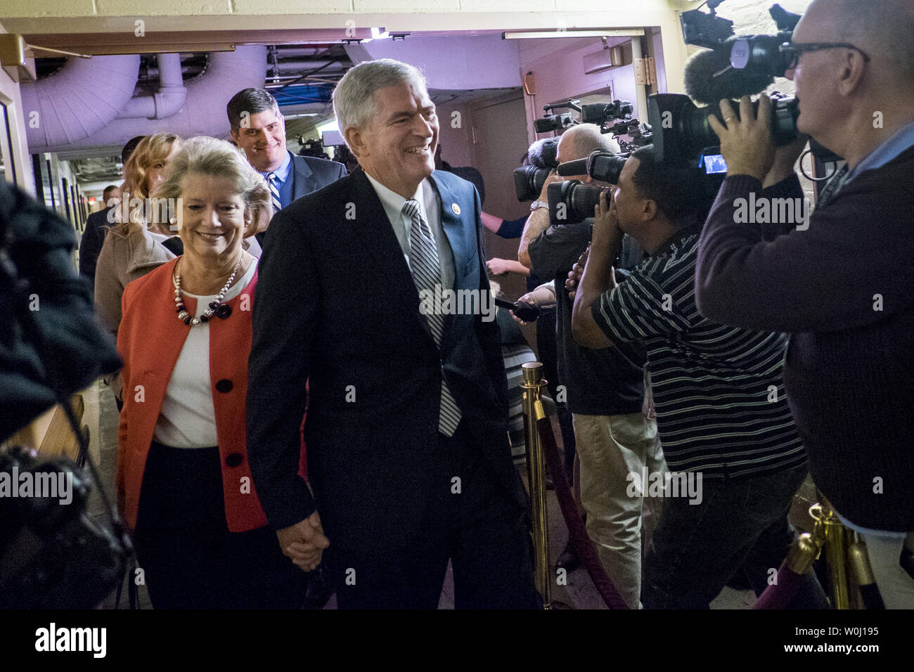 Rep. Daniel Webster (R-FL) arrives with his wife, Sandy, for a GOP Conference Candidates forum for the election of the new Speaker of the House on October 28, 2015 in Washington, D.C.  Webster is running against Rep. Paul Ryan (R-WI) as the Republicans are selecting a candidate for Speaker that will replace John Boehner (R-OH) when he retires on October 30. Photo by Pete Marovich/UPI - Stock Image