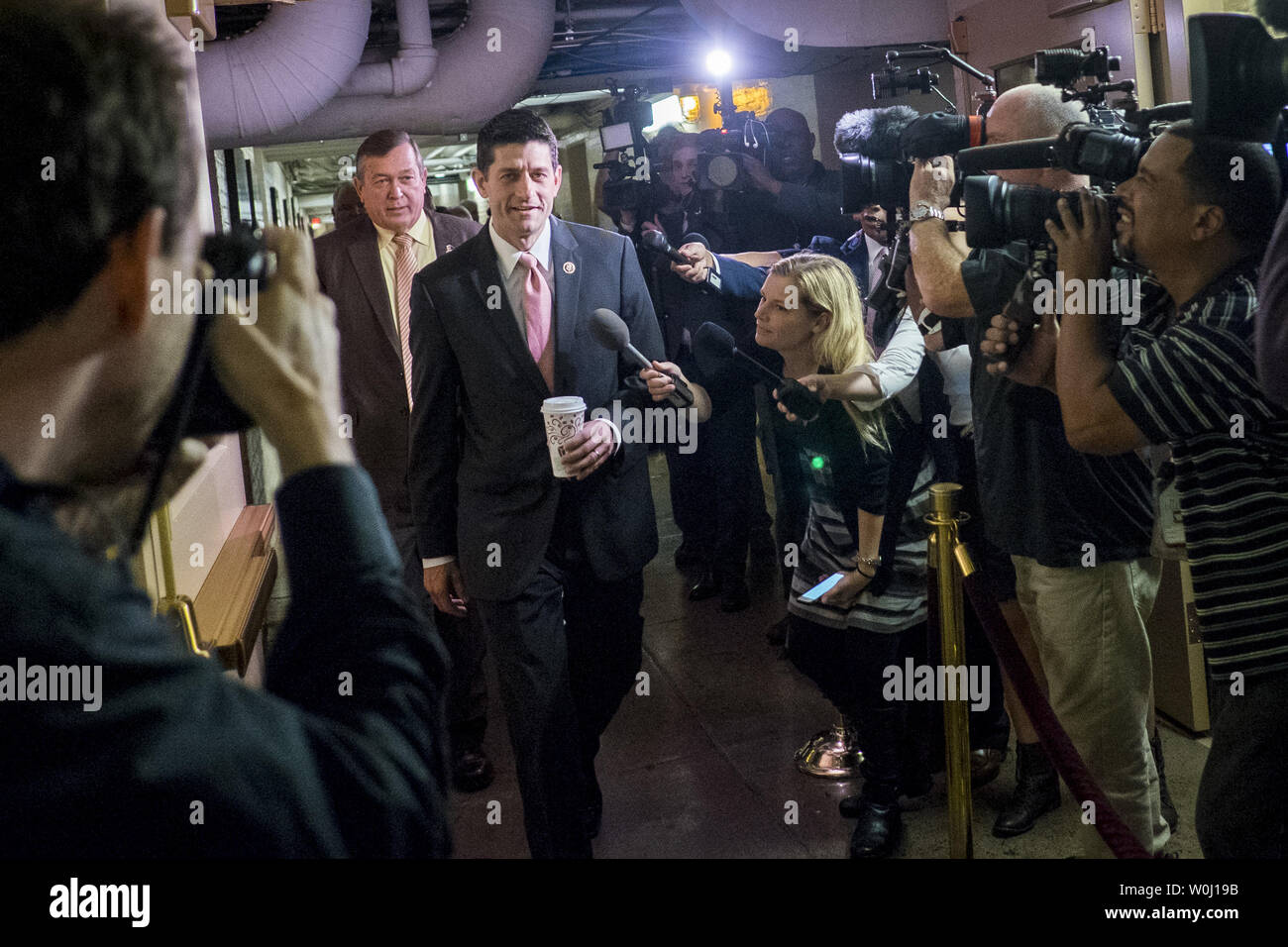 Rep. Paul Ryan (R-WI) arrives for a GOP Conference Candidates forum for the election of the new Speaker of the House on October 28, 2015 in Washington, D.C.  The Republicans are selecting a candidate for Speaker that will replace John Boehner (R-OH) when he retires on October 30. Photo by Pete Marovich/UPI - Stock Image