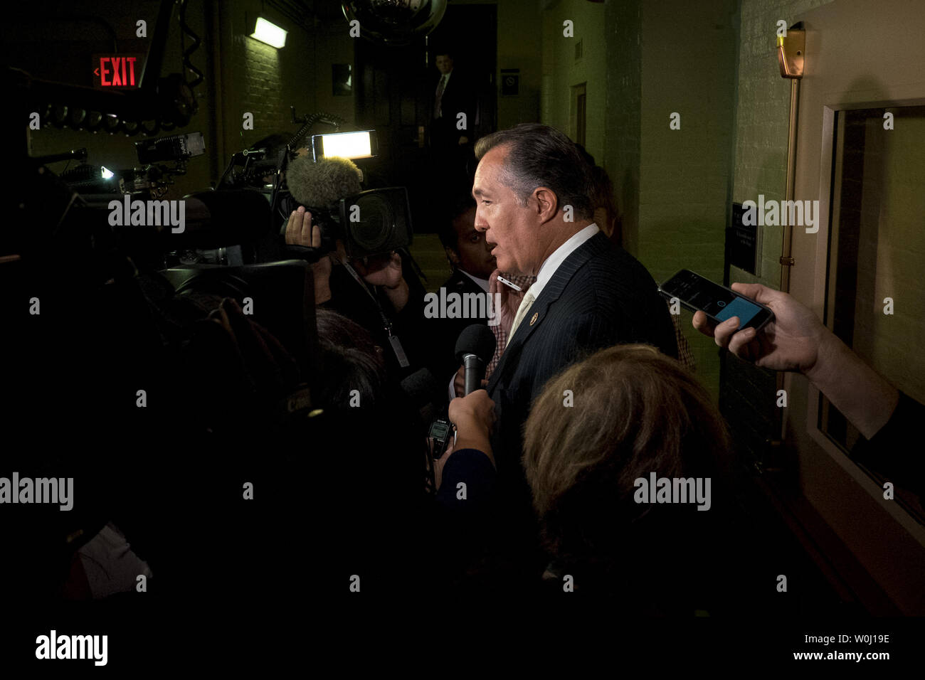 Rep. Trent Franks (R-AZ) speaks to the media after leaving a GOP Conference Candidates forum for the election of the new Speaker of the House on October 28, 2015 in Washington, D.C. The Republicans are selecting a candidate for Speaker that will replace John Boehner (R-OH) when he retires on October 30. Photo by Pete Marovich/UPI - Stock Image