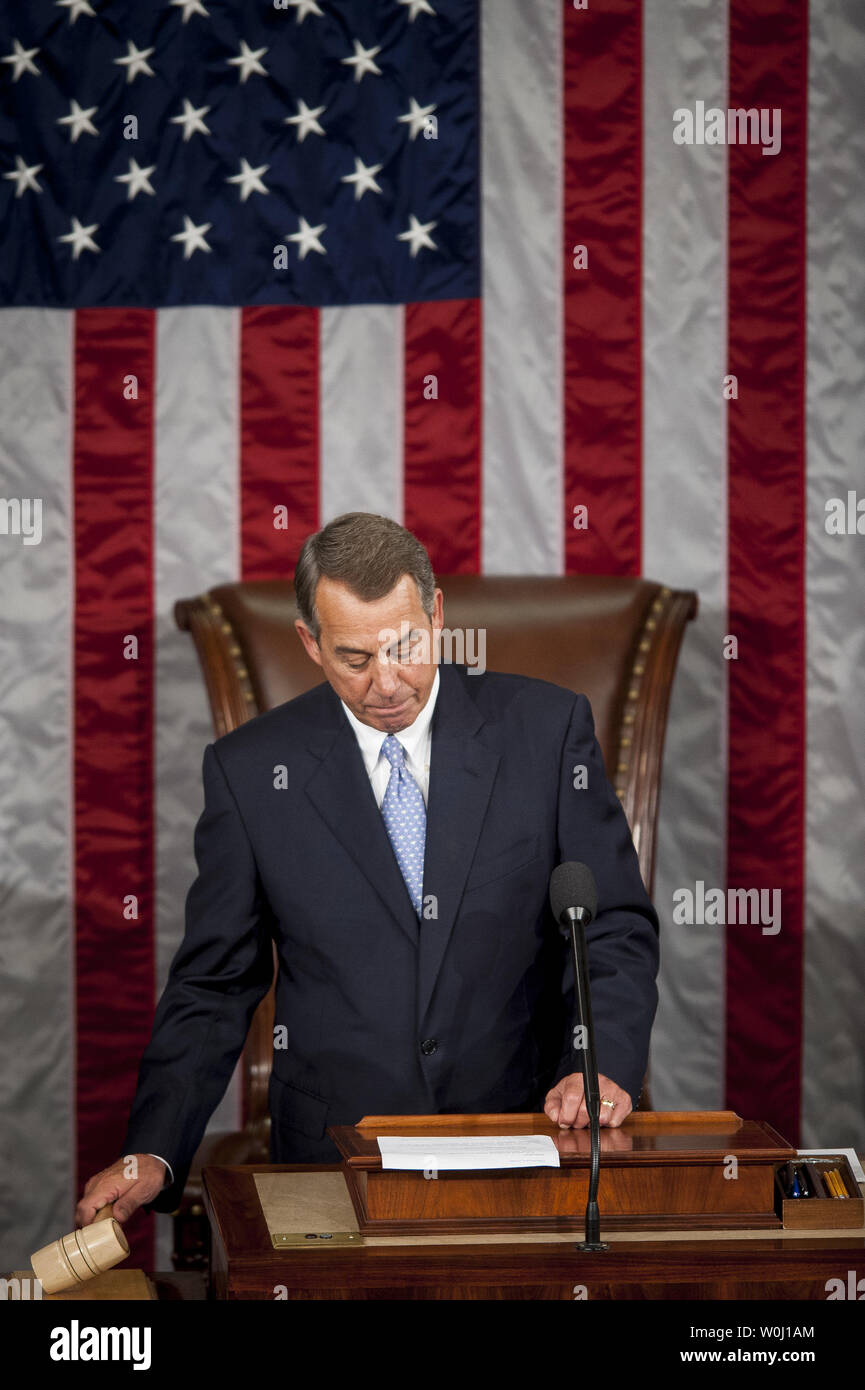 The day before he is to retire from Congress, Speaker of the House John Boehner (R-OH) calls the House of Representatives to order on October 29, 2015 in Washington, D.C. Following Boehner's farewell address, the House of Representatives will vote on Boehner's replacement for Speaker. Photo by Pete Marovich/UPI - Stock Image