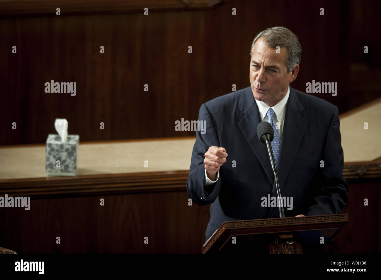 The day before he is to retire from Congress, Speaker of the House John Boehner (R-OH) delivers his farewell address to the House of Representatives on October 29, 2015 in Washington, D.C. Following his address, the House of Representatives will vote on Boehner's replacement for Speaker. Photo by Pete Marovich/UPI - Stock Image