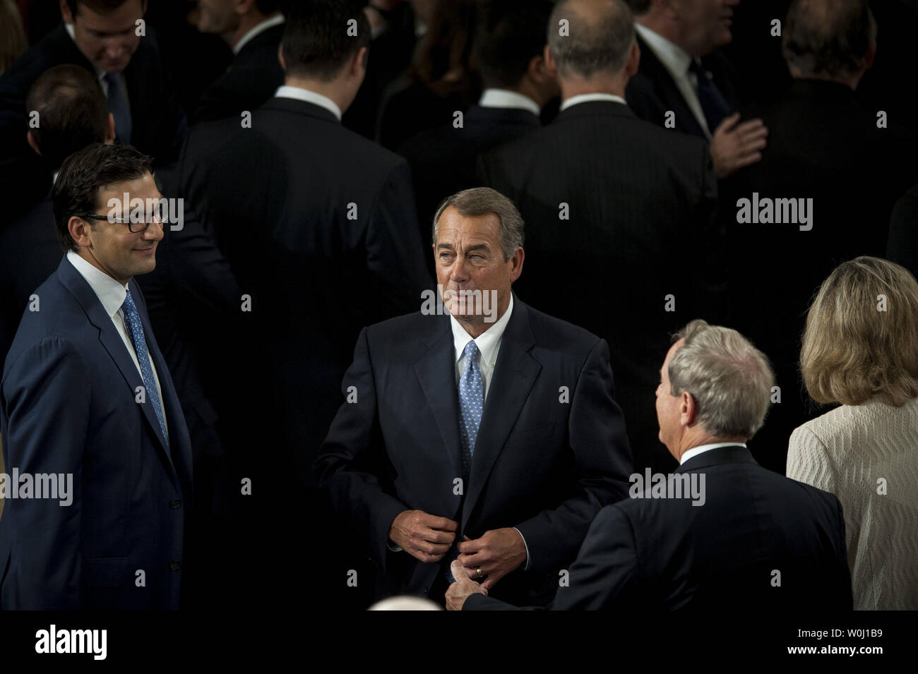 The day before he is to retire from Congress, Speaker of the House John Boehner (R-OH) prepares to deliver his farewell address to the House of Representatives on October 29, 2015 in Washington, D.C. Following his address, the House of Representatives will vote on Boehner's replacement for Speaker. Photo by Pete Marovich/UPI - Stock Image