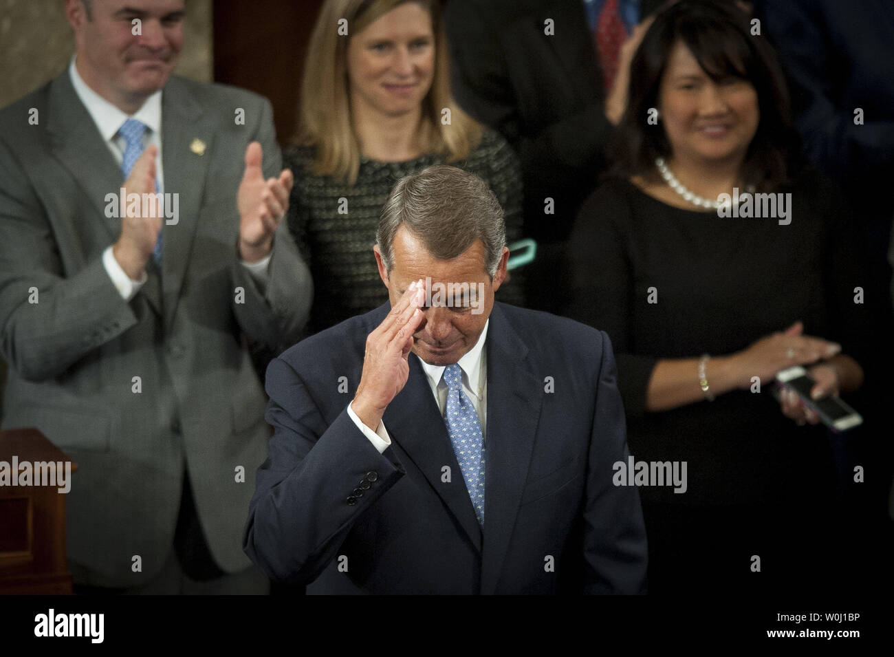 The day before he is to retire from Congress, Speaker of the House John Boehner (R-OH) salutes the Chamber after delivering his farewell address to the House of Representatives on October 29, 2015 in Washington, D.C. Following his address, the House of Representatives will vote on Boehner's replacement for Speaker. Photo by Pete Marovich/UPI - Stock Image