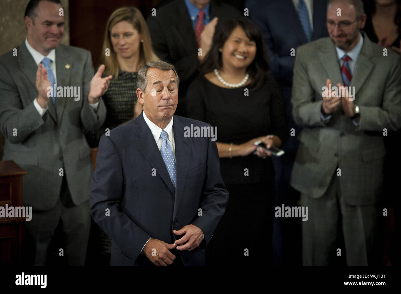 The day before he is to retire from Congress, Speaker of the House John Boehner (R-OH) becomes emotional after delivering his farewell address to the House of Representatives on October 29, 2015 in Washington, D.C. Following his address, the House of Representatives will vote on Boehner's replacement for Speaker. Photo by Pete Marovich/UPI - Stock Image