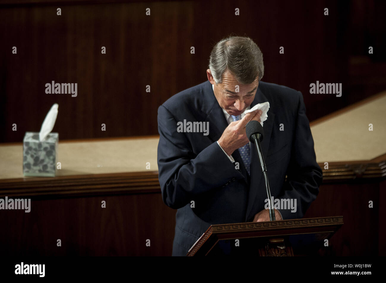 The day before he is to retire from Congress, Speaker of the House John Boehner (R-OH) becomes emotional as he delivers his farewell address to the House of Representatives on October 29, 2015 in Washington, D.C. Following his address, the House of Representatives will vote on Boehner's replacement for Speaker. Photo by Pete Marovich/UPI - Stock Image